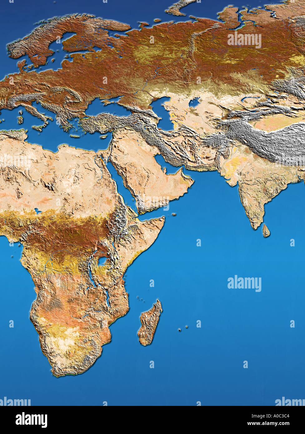 Satellite image map of Africa Arabia Europe Scandinavia India and ...