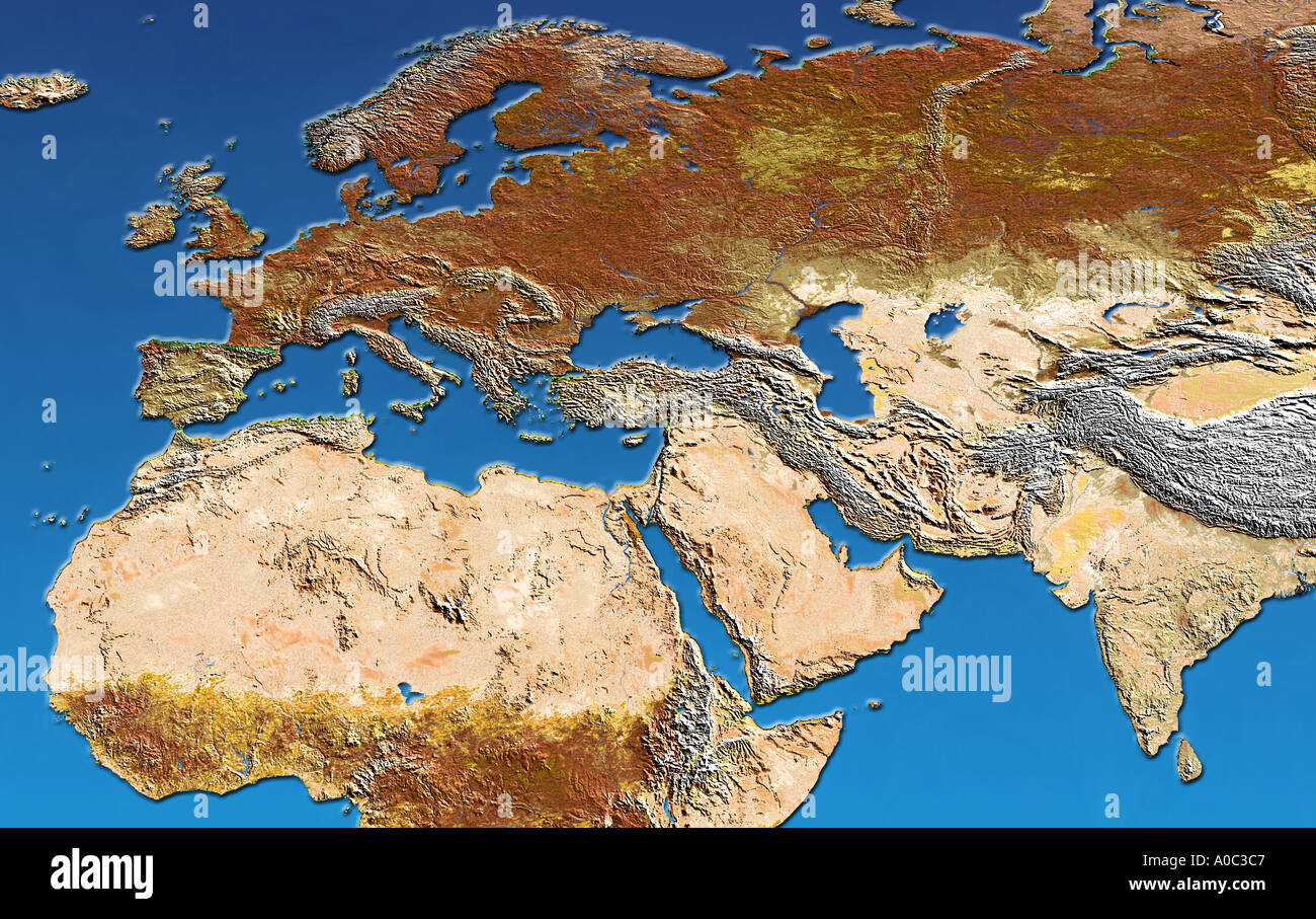 Satellite image of Europe North Africa the Middle East India