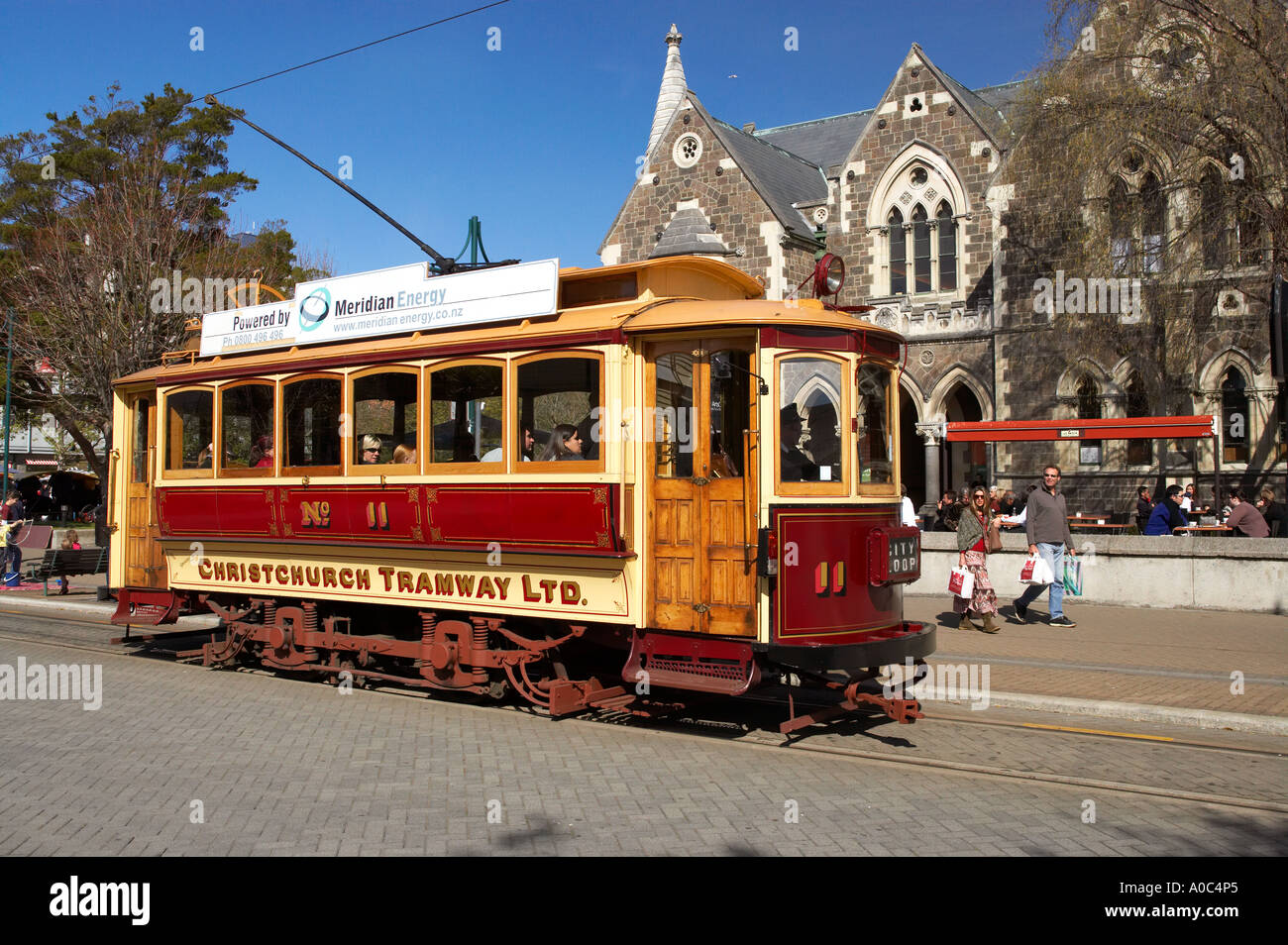 Tram by Historic Arts Centre Christchurch Canterbury South Island New Zealand - Stock Image