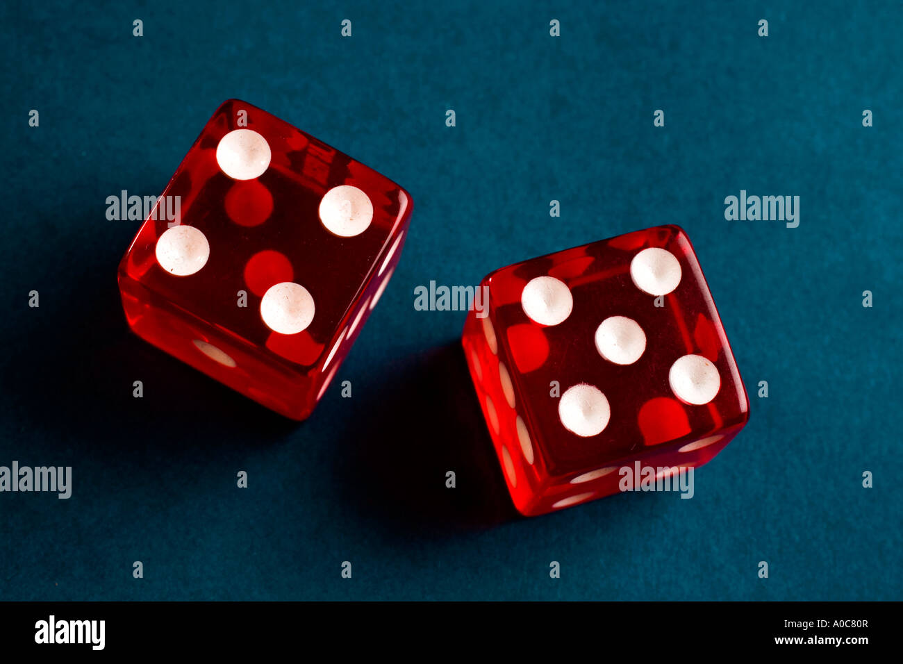 a pair of dice showing nine - Stock Image