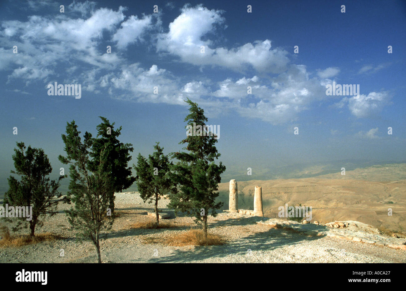 JORDAN up on the MOUNT NEBO where Moses saw the Holy Land Memorial of Moses overview Jordan Stock Photo