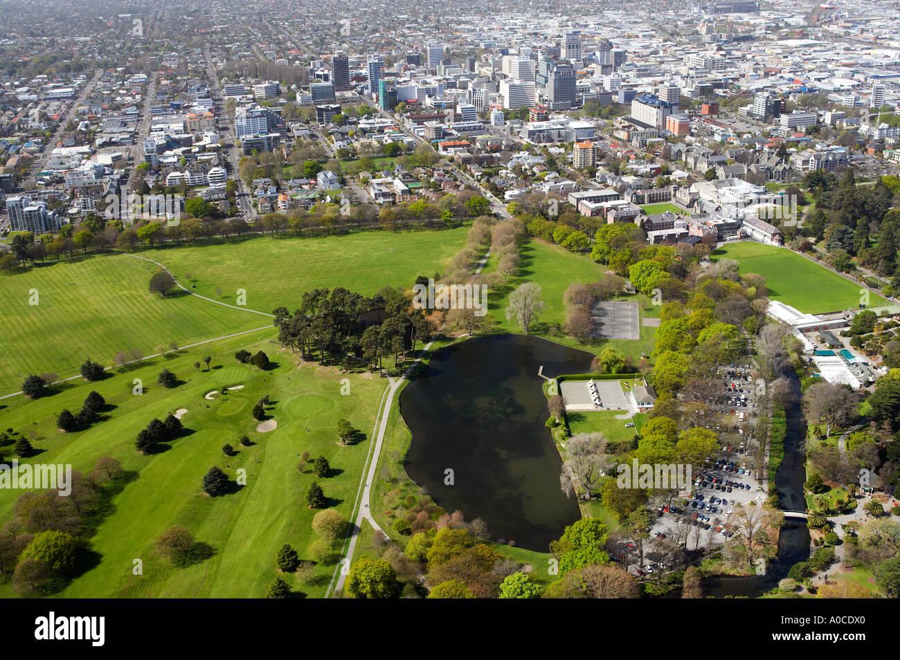 Hagley Park and CBD Christchurch South Island New Zealand aerial - Stock Image