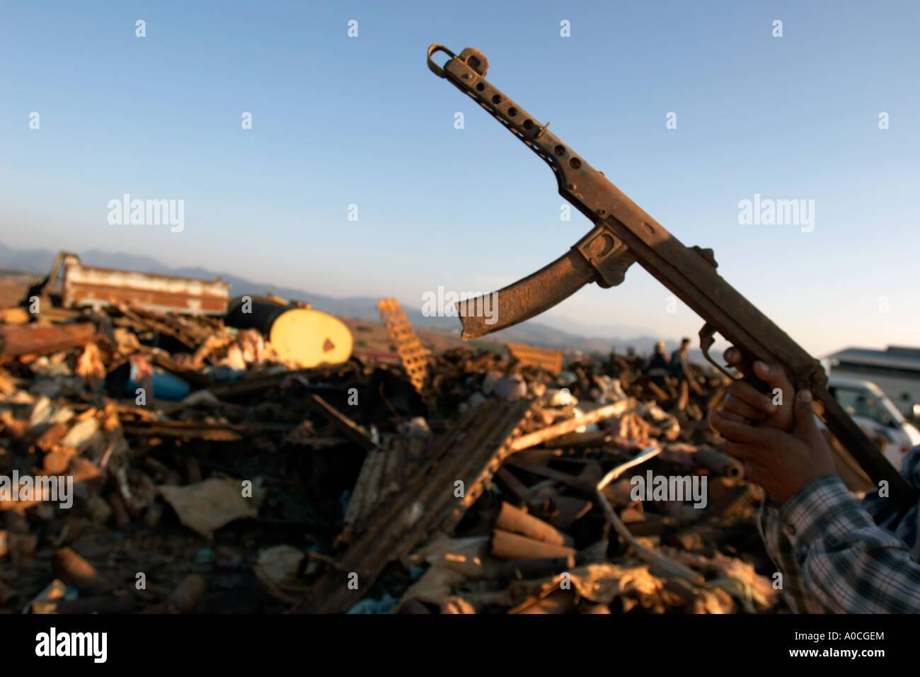 War scrap at a junkyard in Phonsavan, Laos - Stock Image