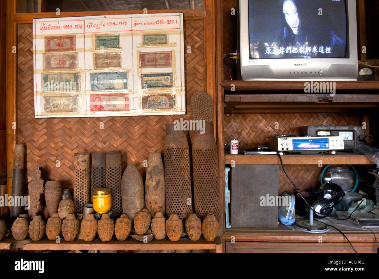War scrap in a guesthouse, Phonsavan, Laos - Stock Image