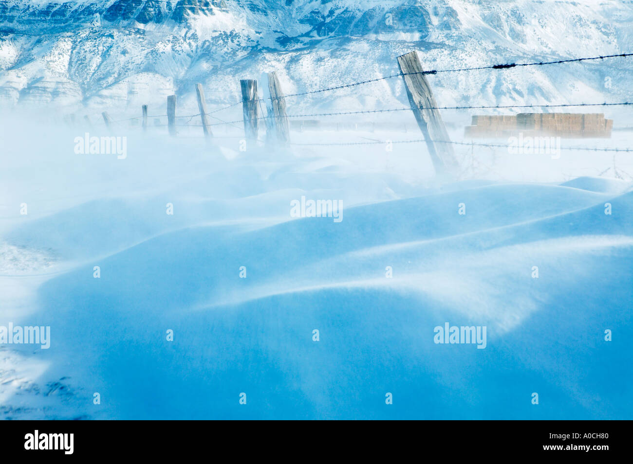 Blowing snow and fence line and Hart Mountain Warner Valley Oregon - Stock Image