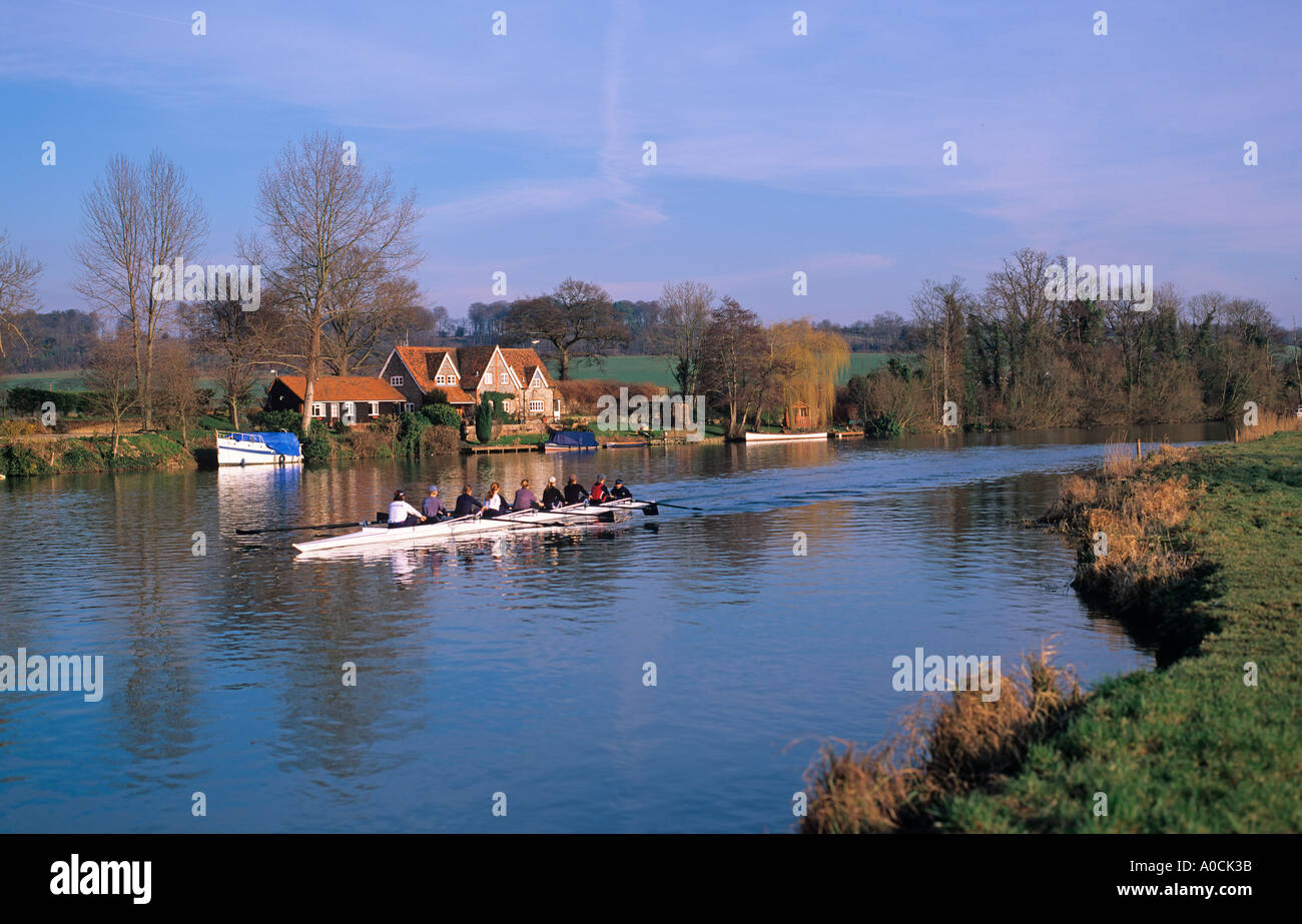 Rowing on The River Thames at Mill End Hambleden Bucks - Stock Image