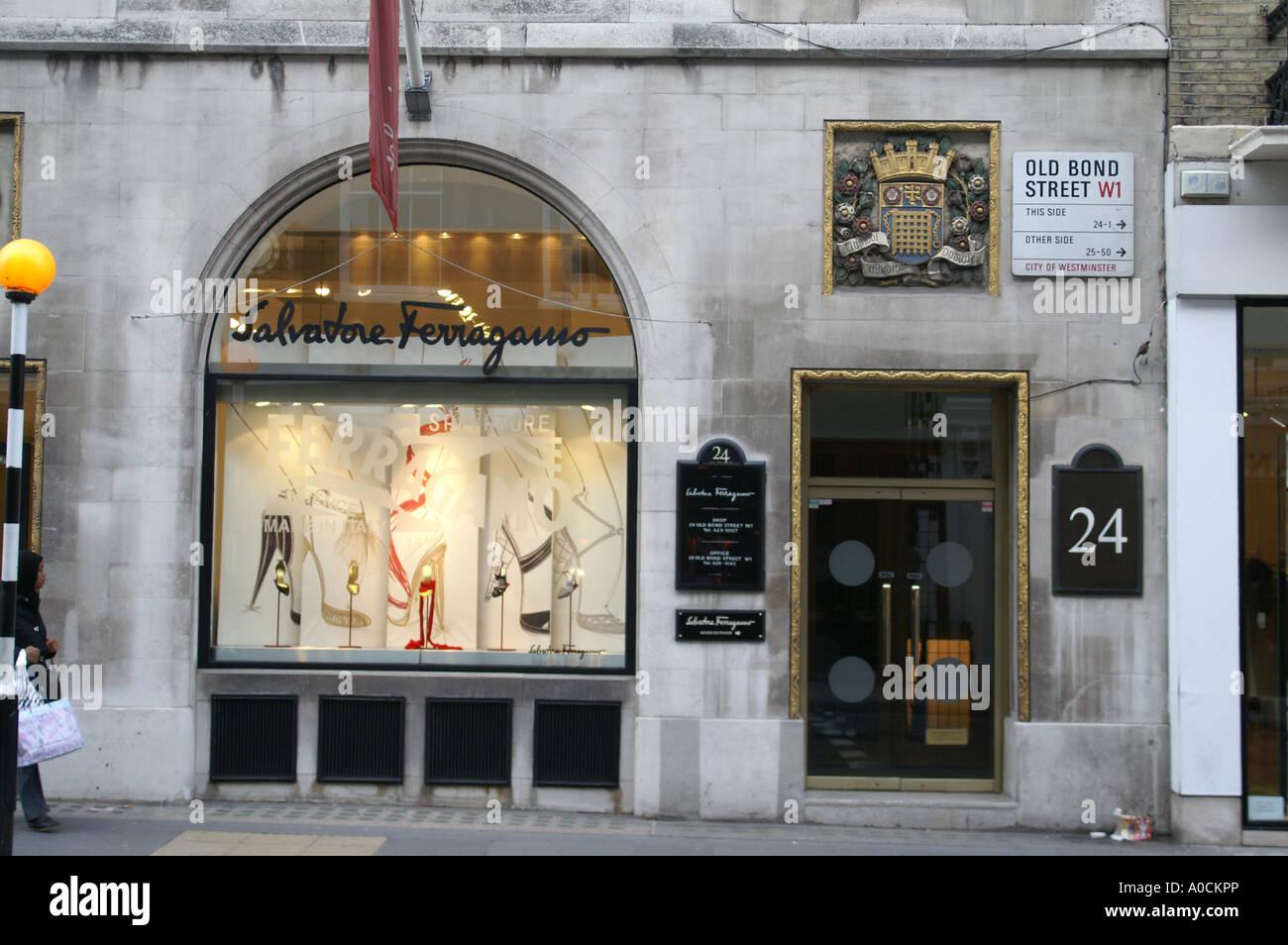 Salvadore Ferragamo 24 Old Bond Street London - Stock Image
