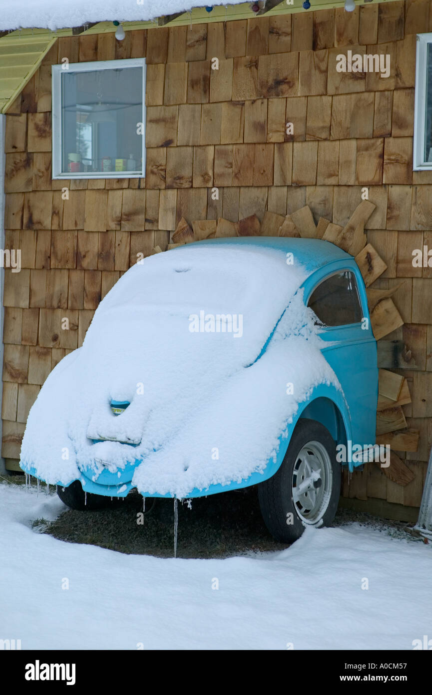 Volks Wagon Beattle in wall of Blue Banana restaurant in Lostine Oregon - Stock Image