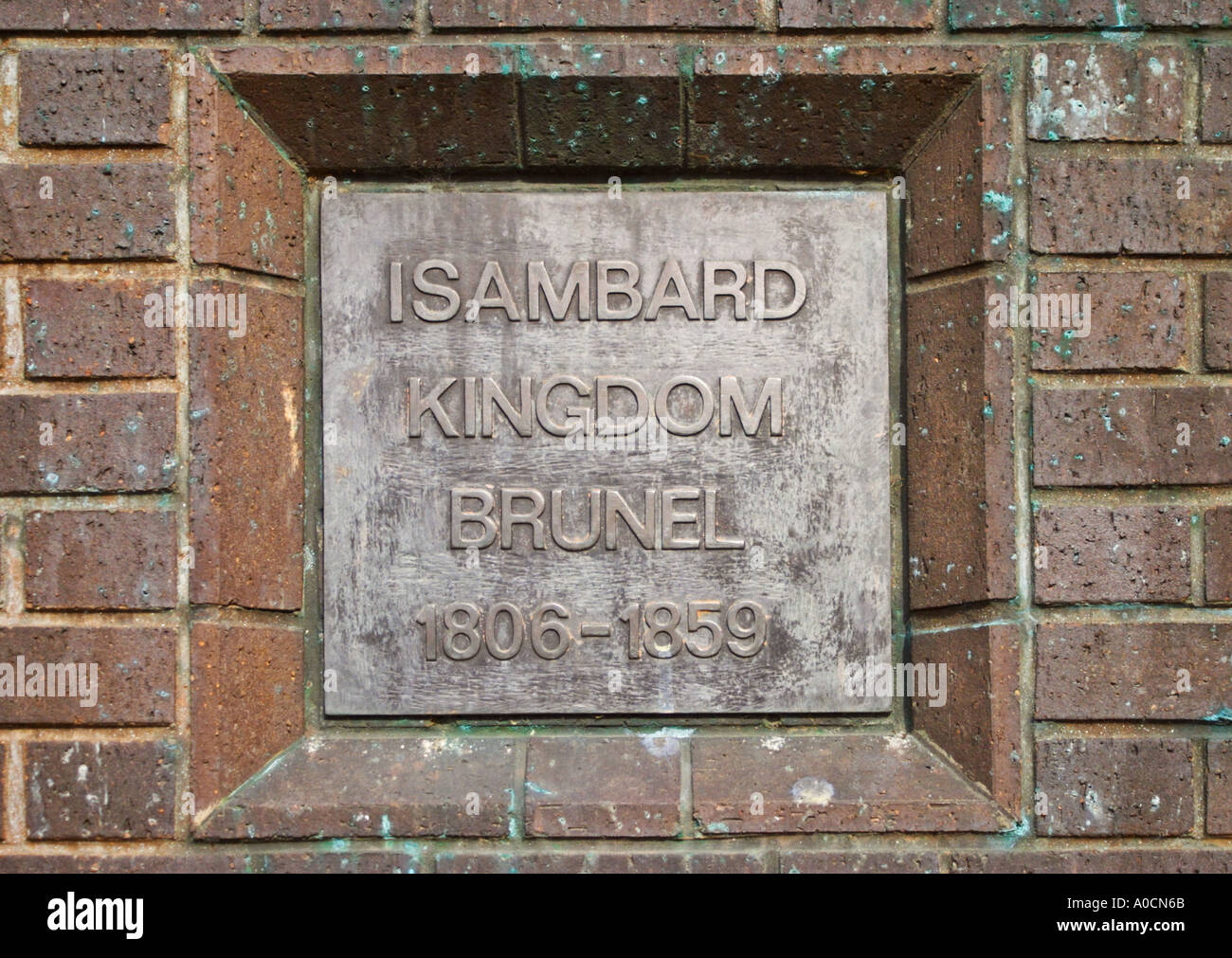 Name plaque on the statue of Isambard Kingdom Brunel 1806 1859 in Bristol - Stock Image