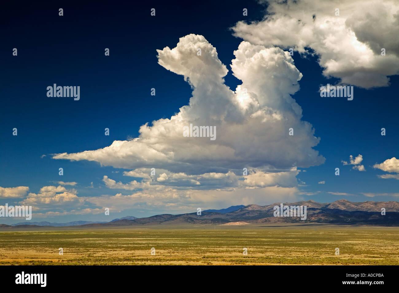 Beginning thunderstorm clouds Near Elko Nevada - Stock Image