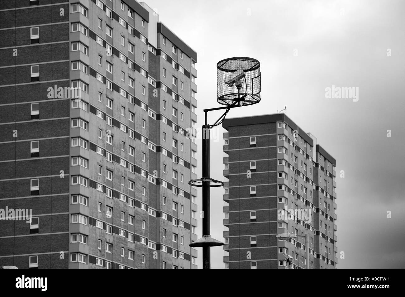 Big brother CCTV Dundee. Perthshire security cameras overlooking multi-storey flats,  surveillance cameras of high rise accommodation, Scotland UK - Stock Image