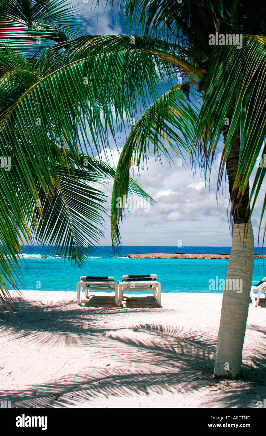 Beach Chairs On Tropical Beach On The Island Of Curacao, Netherlands  Antilles