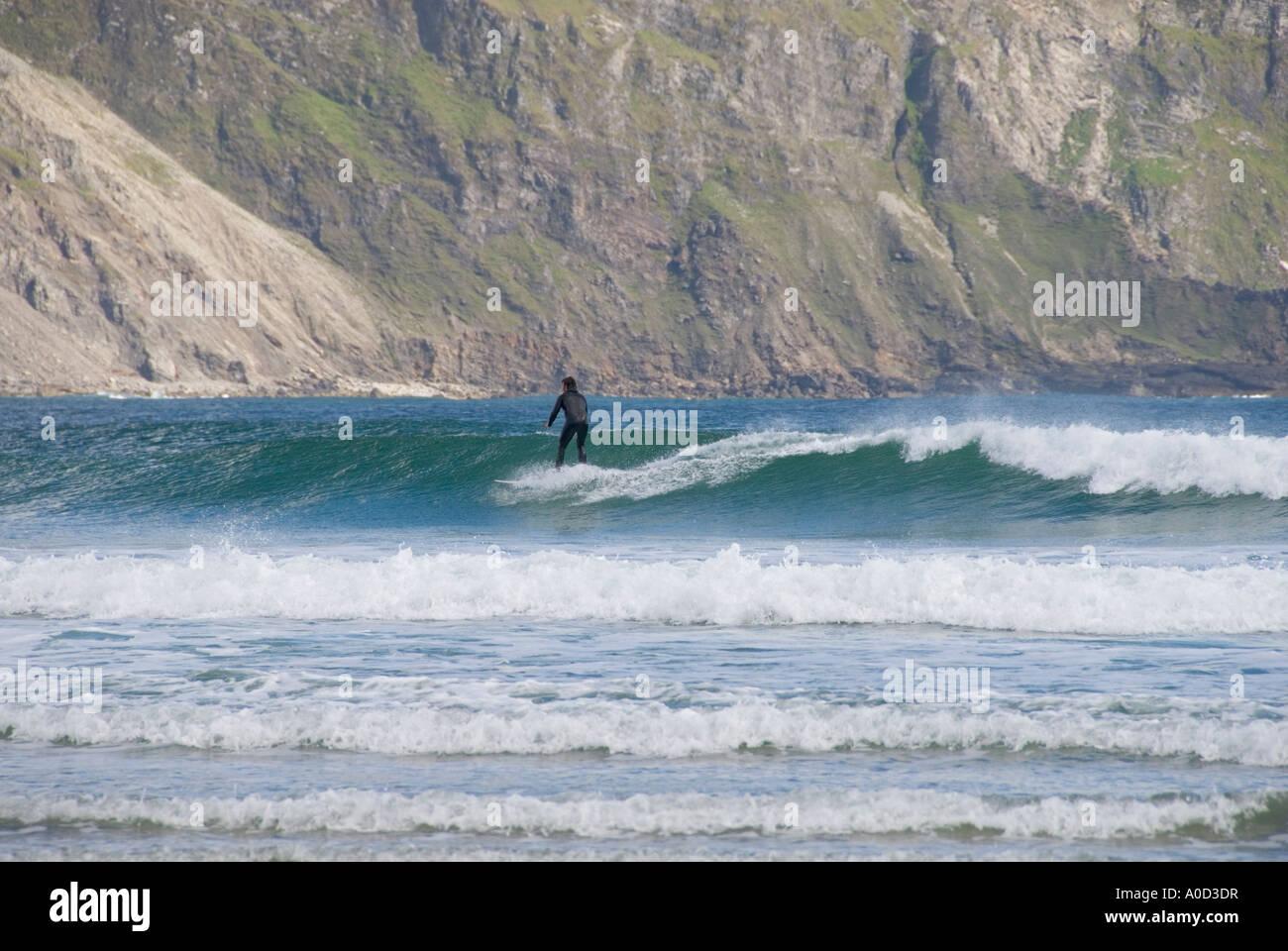 Ireland County Mayo Achill Island Keel Beach surfer - Stock Image