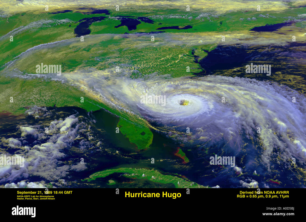 Satellite view of Hurricane Hugo off the coast of Florida in 1989 with winds at 160 MPH - Stock Image