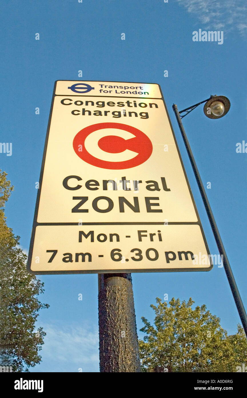 Congestion Charge Sign Central Zone Pentonville Road London UK - Stock Image