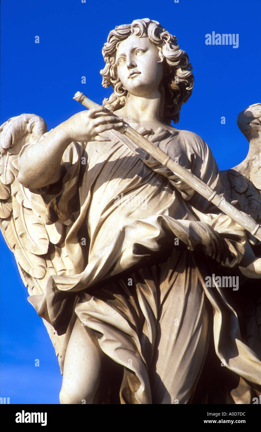 Italy Rome Ponte Sant Angelo Angel sculpture by Bernini - Stock Image