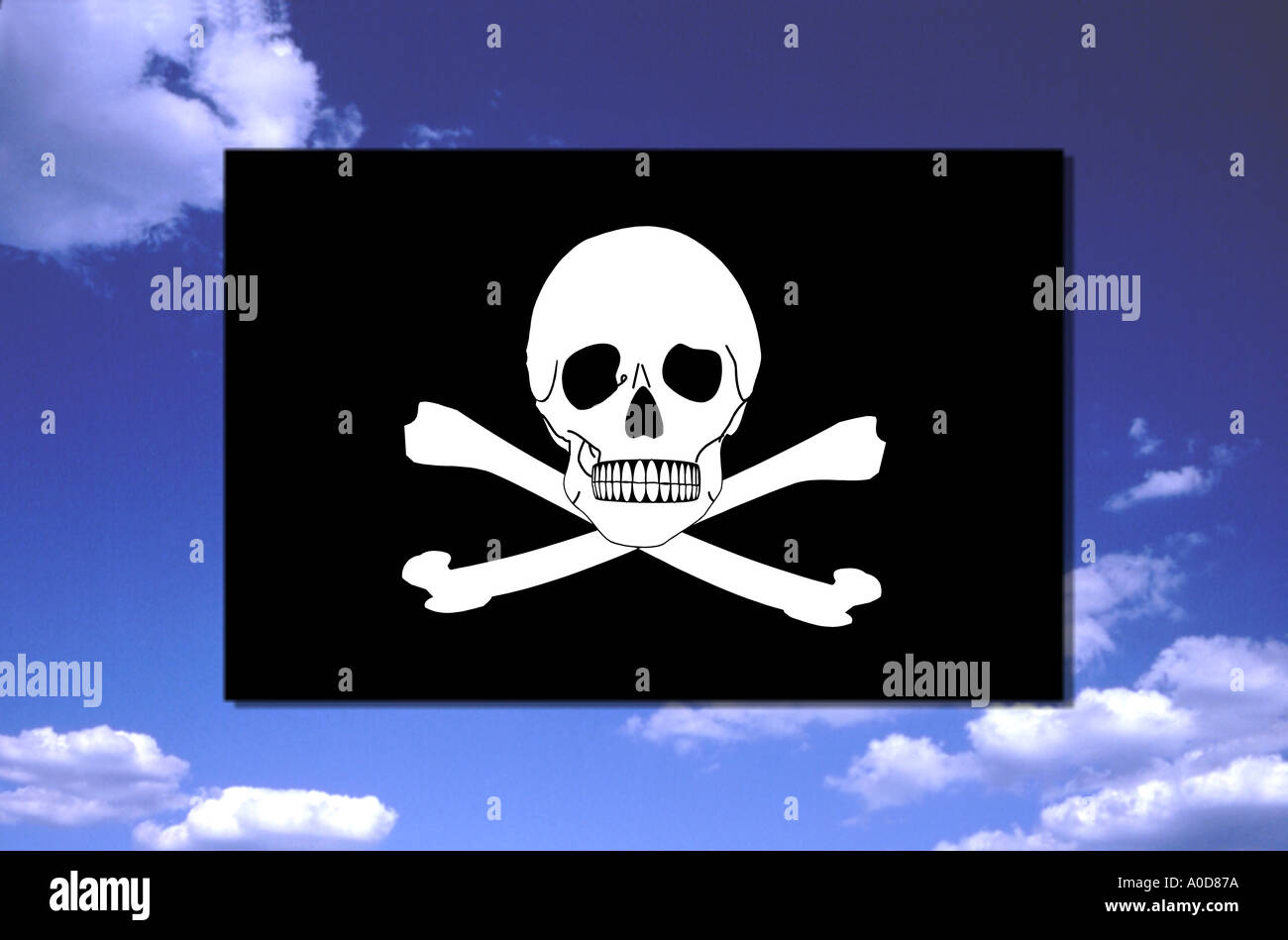 pirate flag piracy skull and crossbones death s head - Stock Image