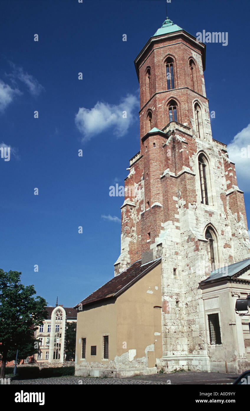 The 13th Century Church Mária Magdolna Tower at Budapest Hungary - Stock Image