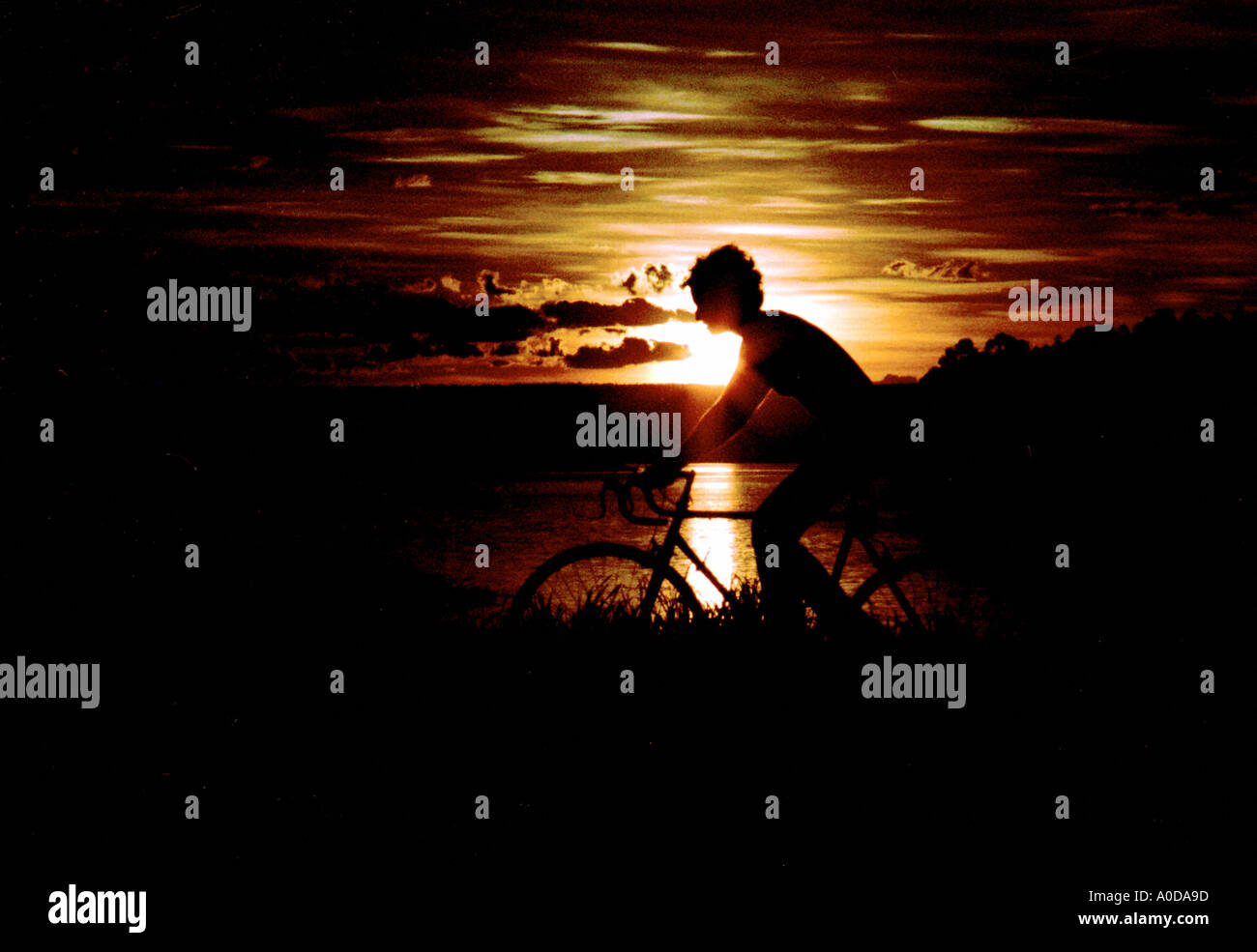 Cycling in the Sunset Stock Photo