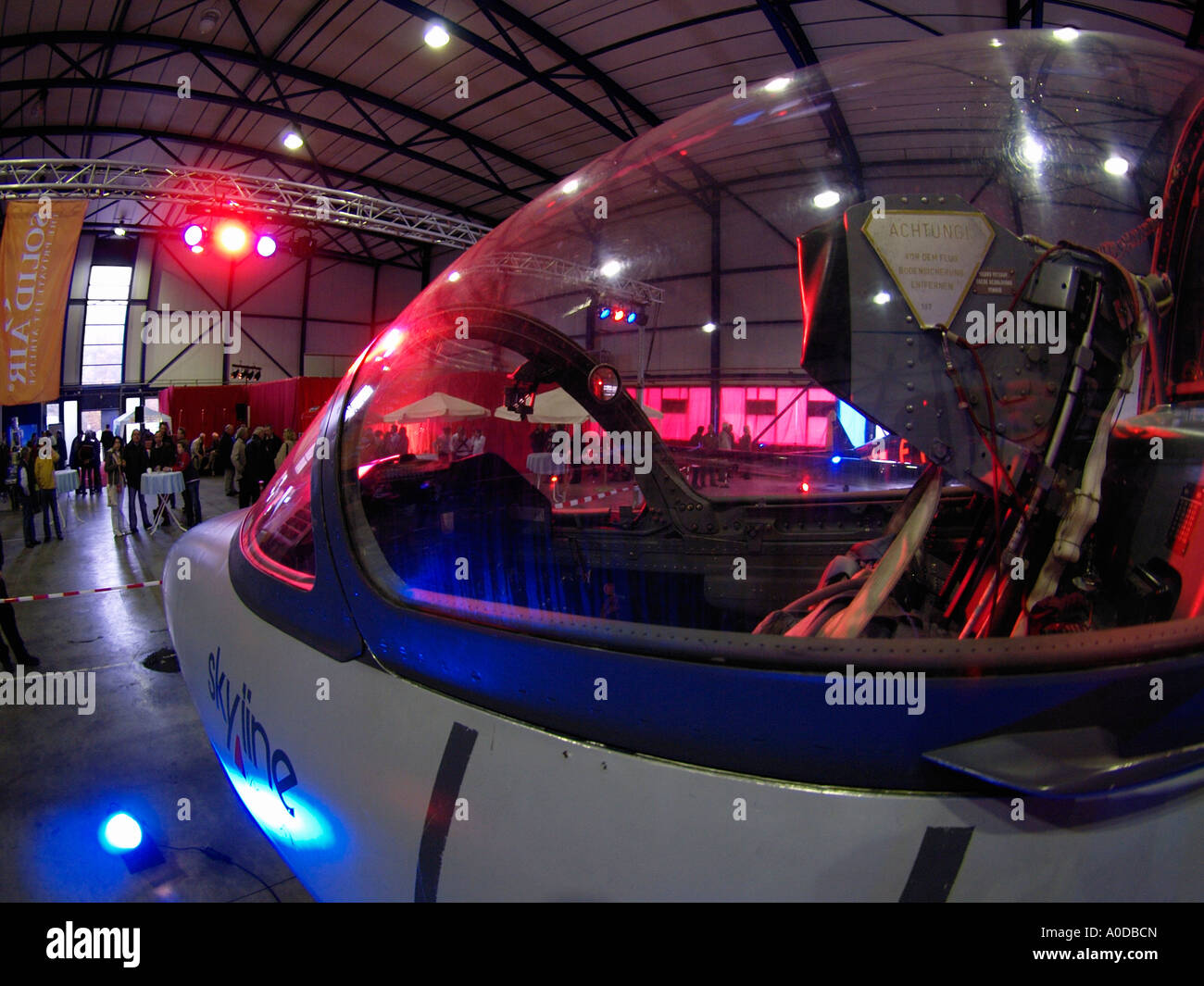Fisheye image of L39 Albatros fighter jet cockpit aeroplane parked in hangar on Eindhoven Airport the Netherlands - Stock Image