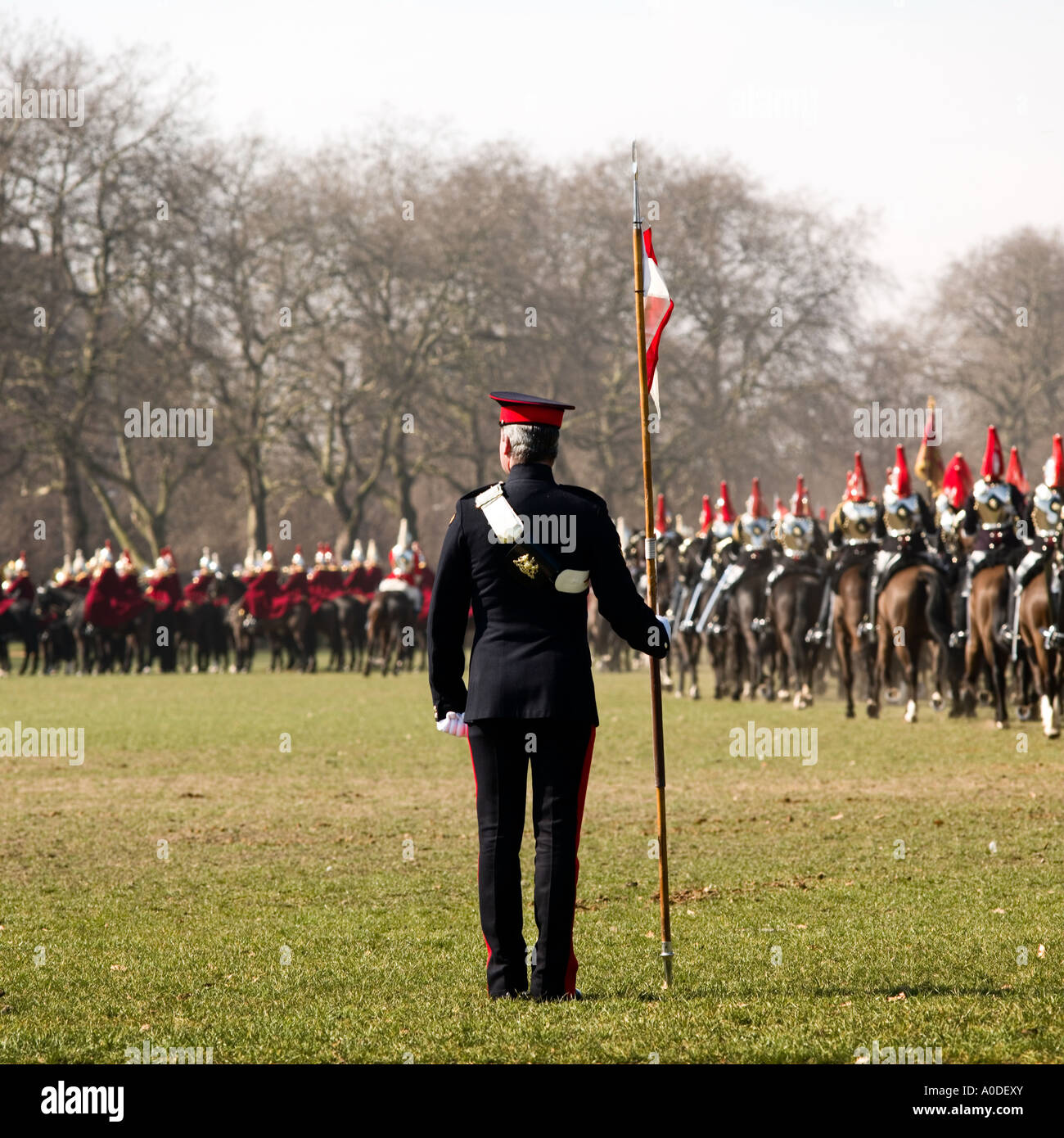 Household Cavalry training No model release required: back view, blur,  and uniform makes all unrecognizable - Stock Image