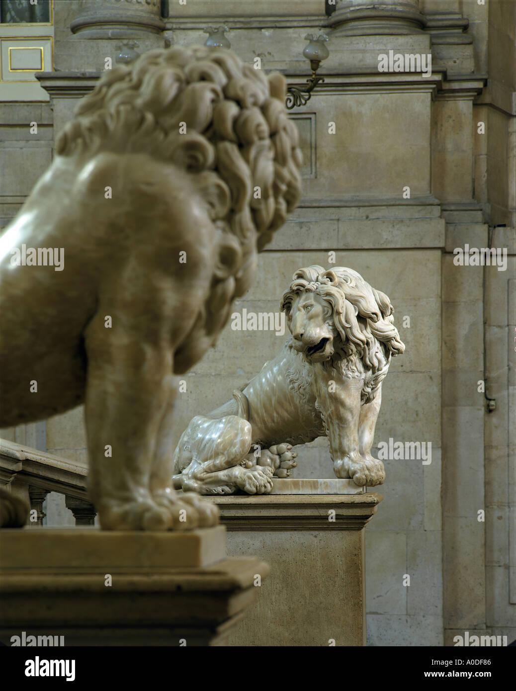 Lion Sculptures On The Grand Staircase. Architect: Felipe De Castro And  Robert Michel   Sculptors