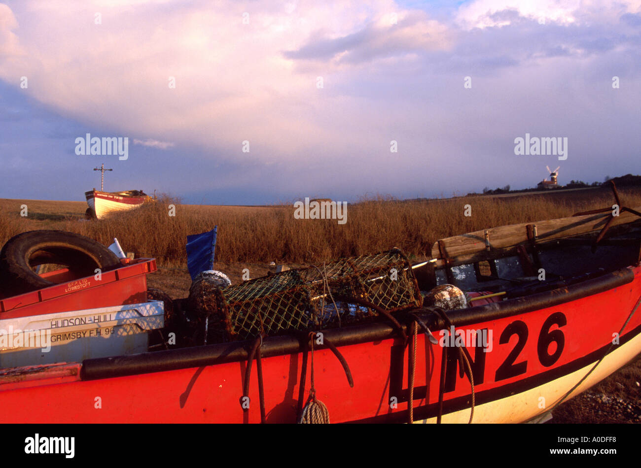 two crab boats a shore at Weybourne North Norfolk NORFOLK EAST ANGLIA ENGLAND UK Stock Photo