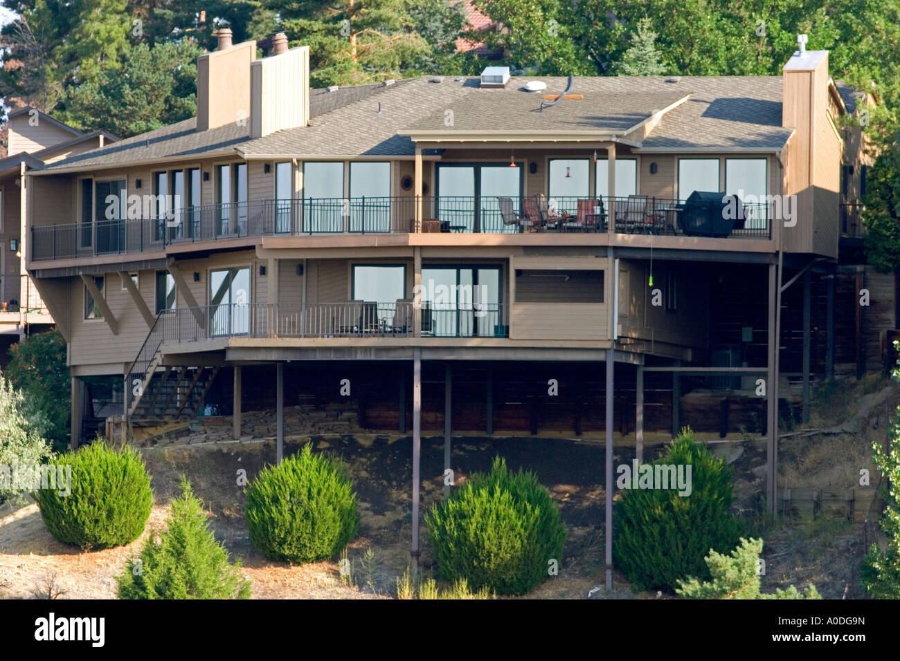 Home Built On A Hillside Using Stilts For Foundation Support In Boise Stock Photo Alamy