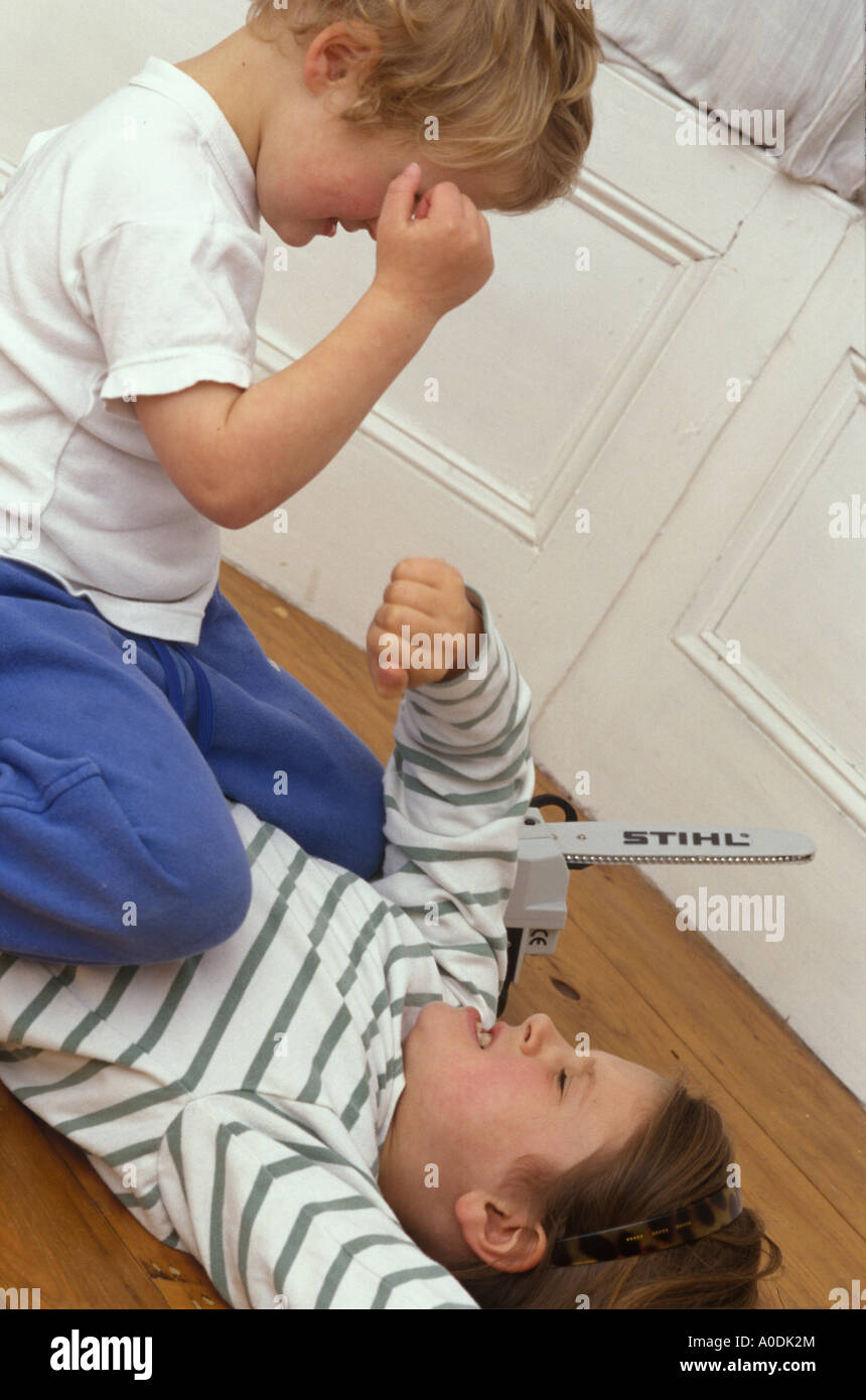 children fighting Stock Photo