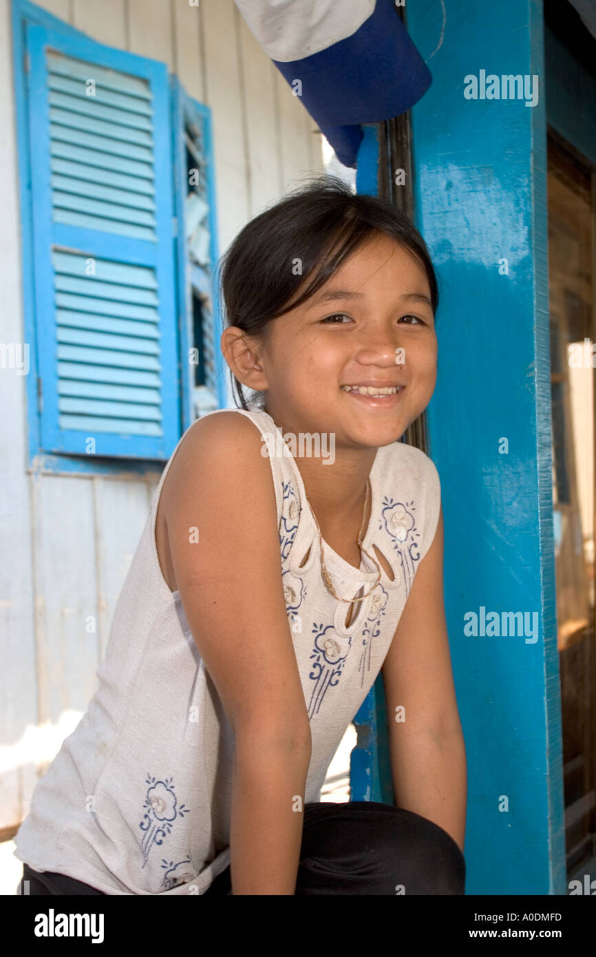 Vietnam South Mekong Delta Chau Doc Cham Moslem village face of happy village girl Stock Photo