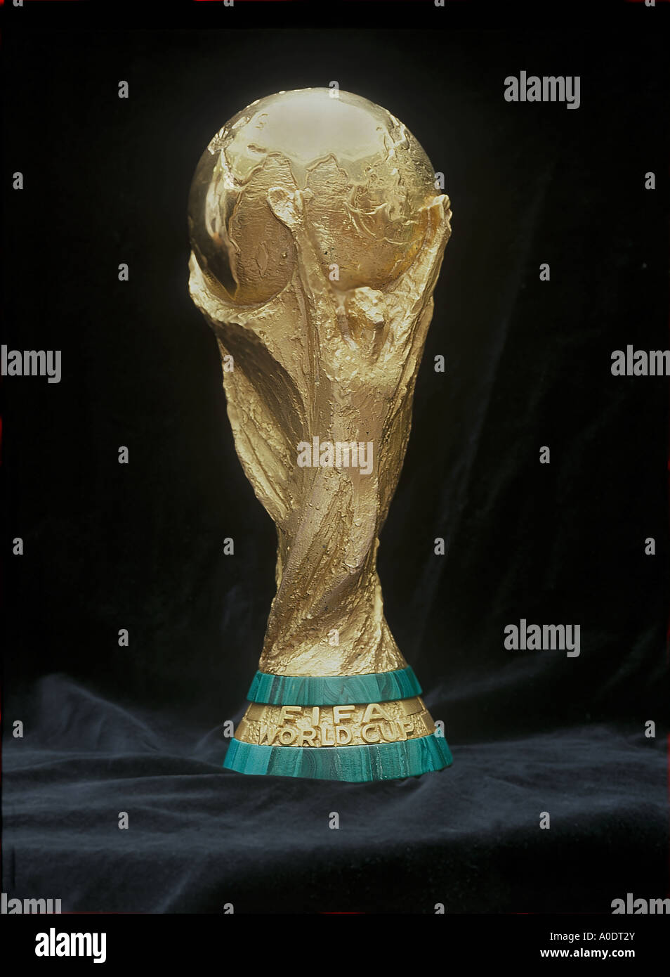 fifa world cup on a blcak background competed for by the football nations of the world On public display in London in 1995 - Stock Image