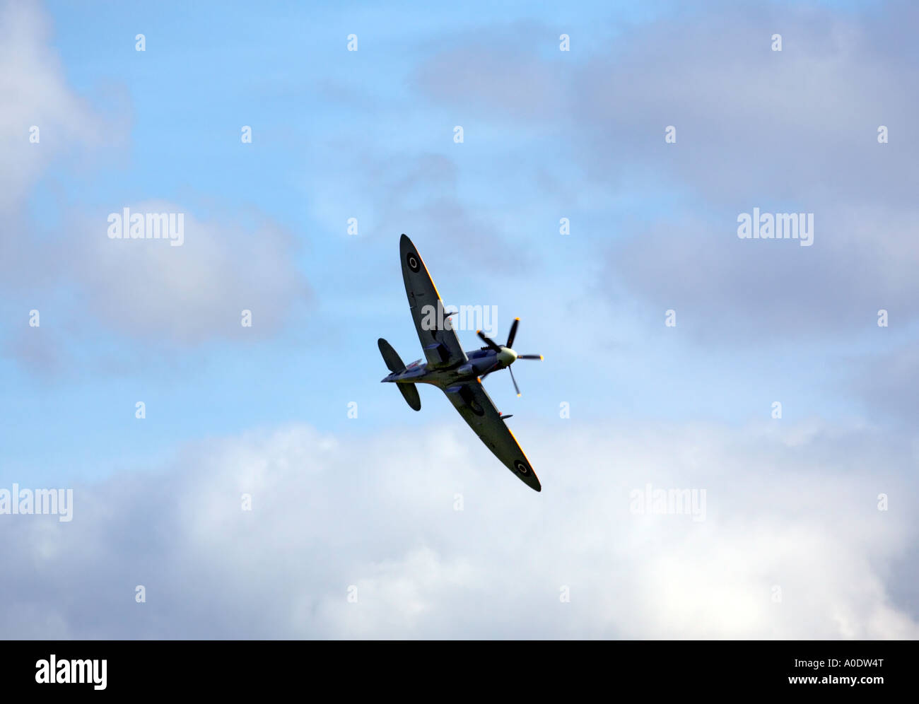 Spitfire at airshow Duxford - Stock Image