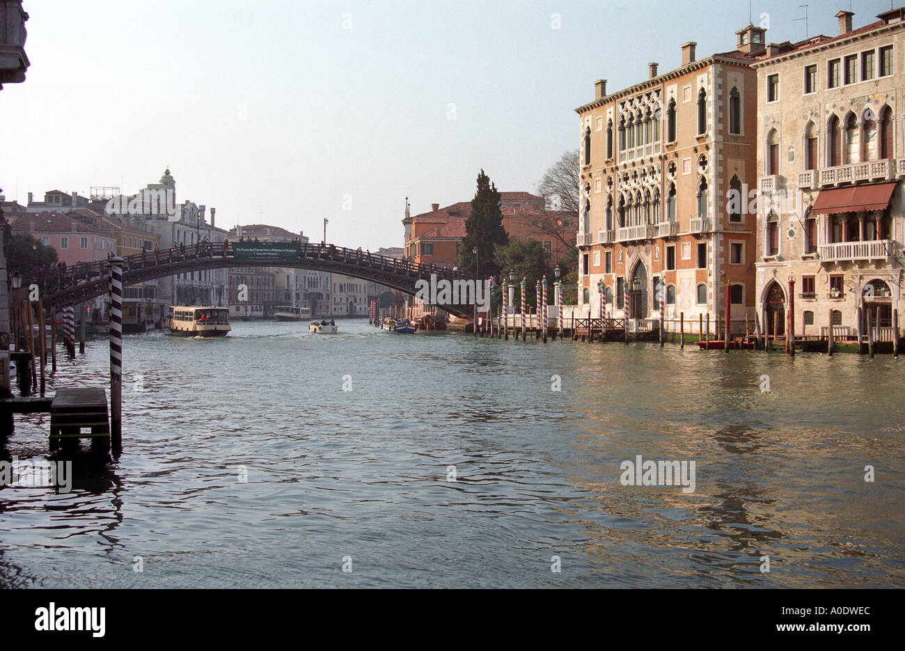 View of the Grand Canal Towards Accademia Venice Italy Stock Photo
