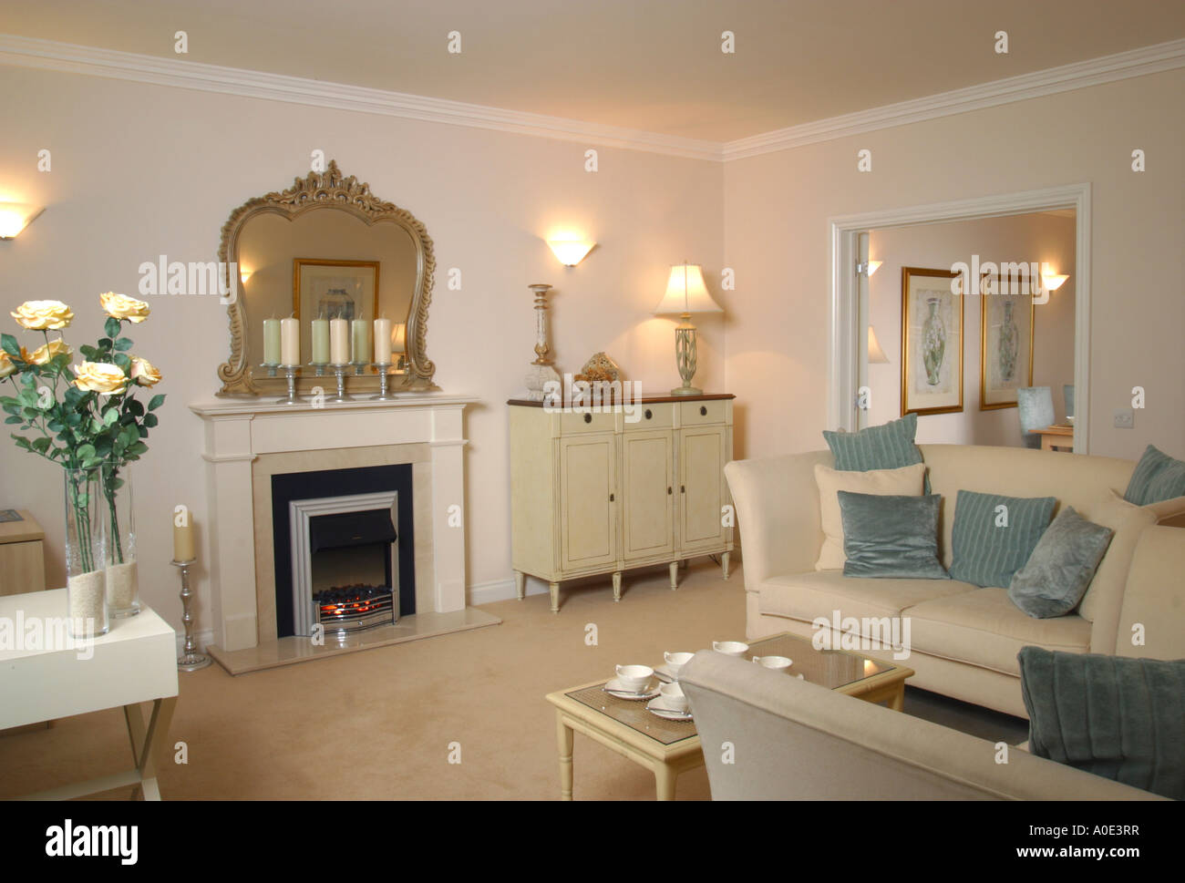 UK Showhome Interior, Furnished Living Room.