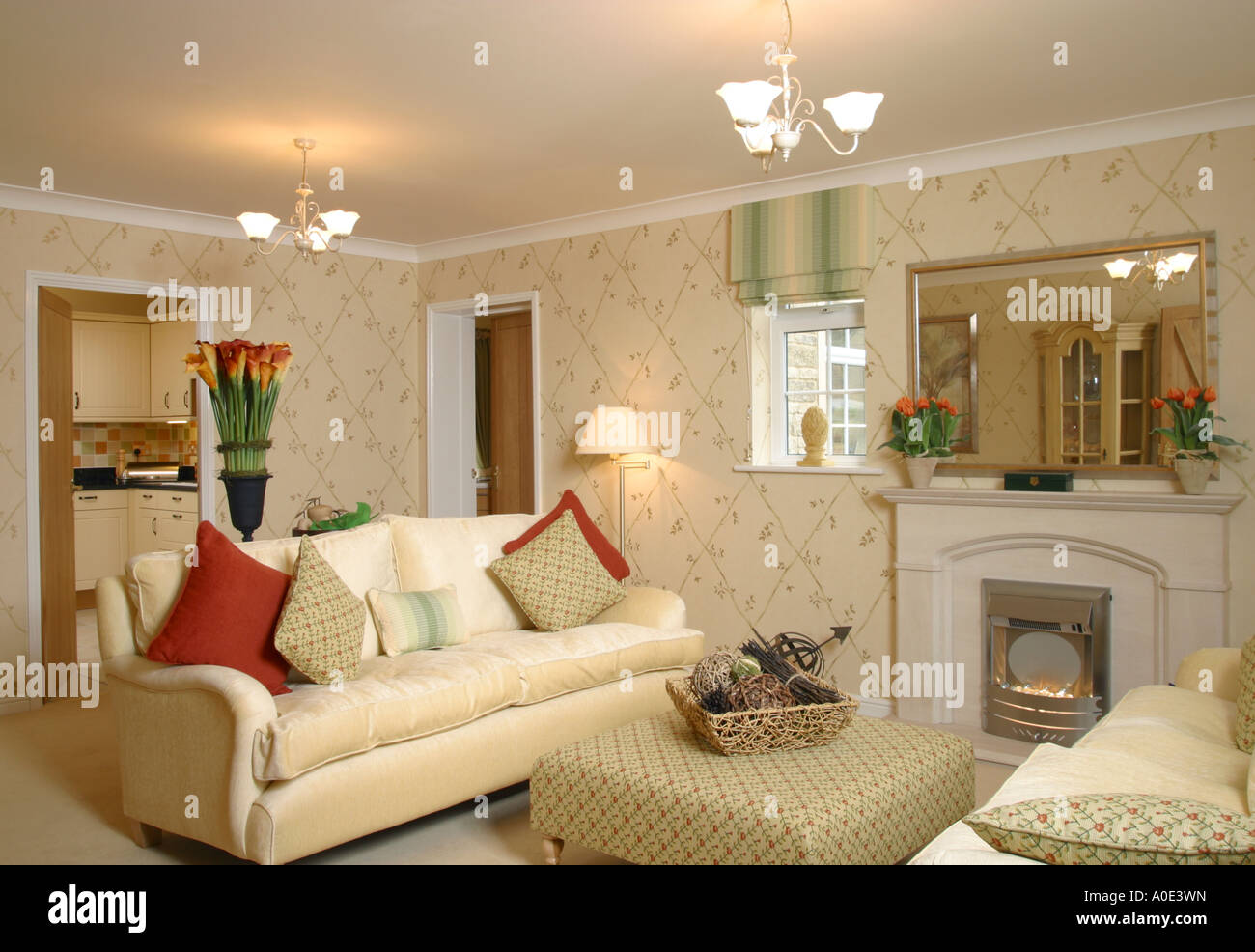 UK showhome interior furnished living room Stock Photo 9967520 Alamy