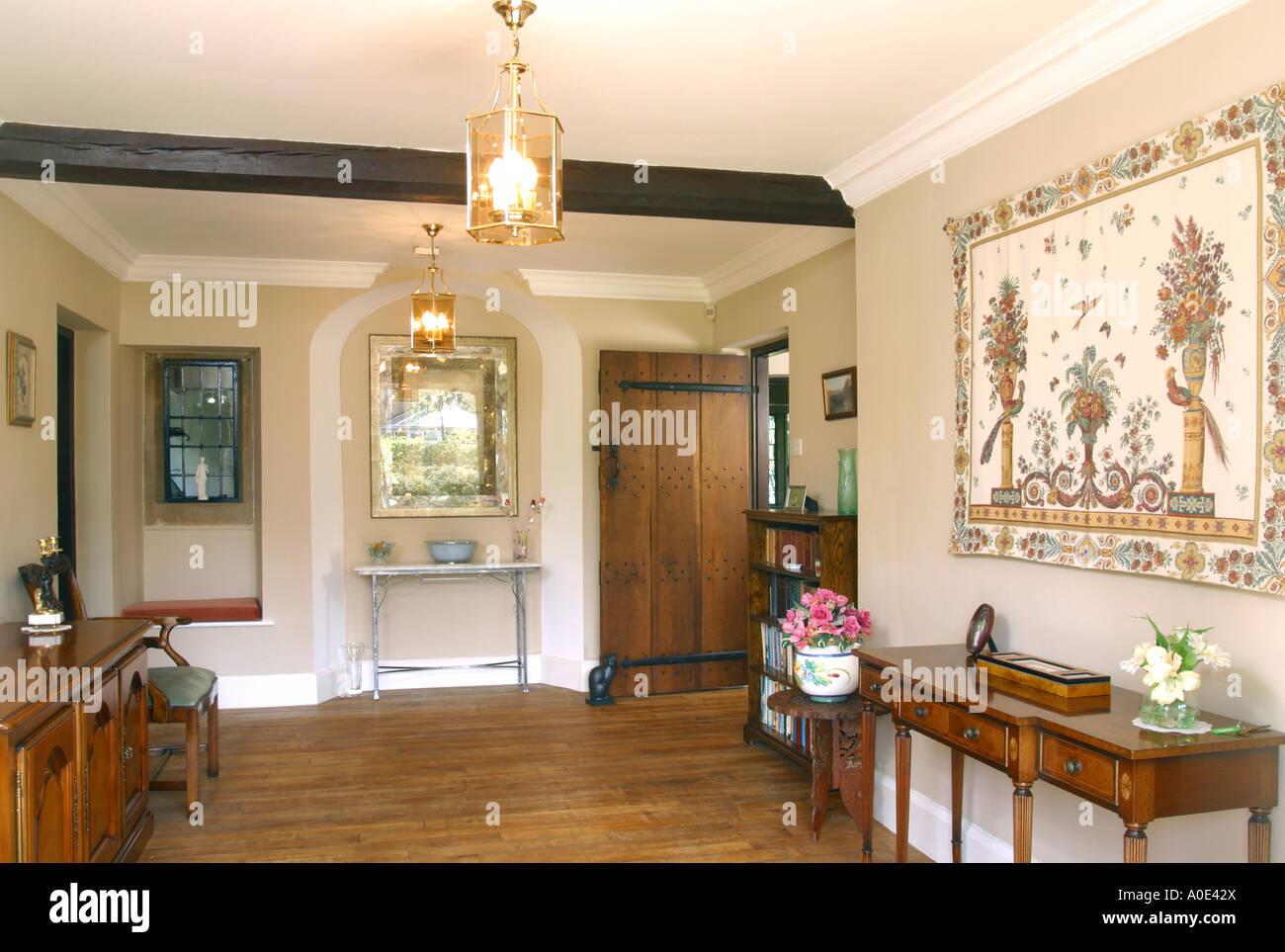 UK property, house interior, entrance hall. - Stock Image