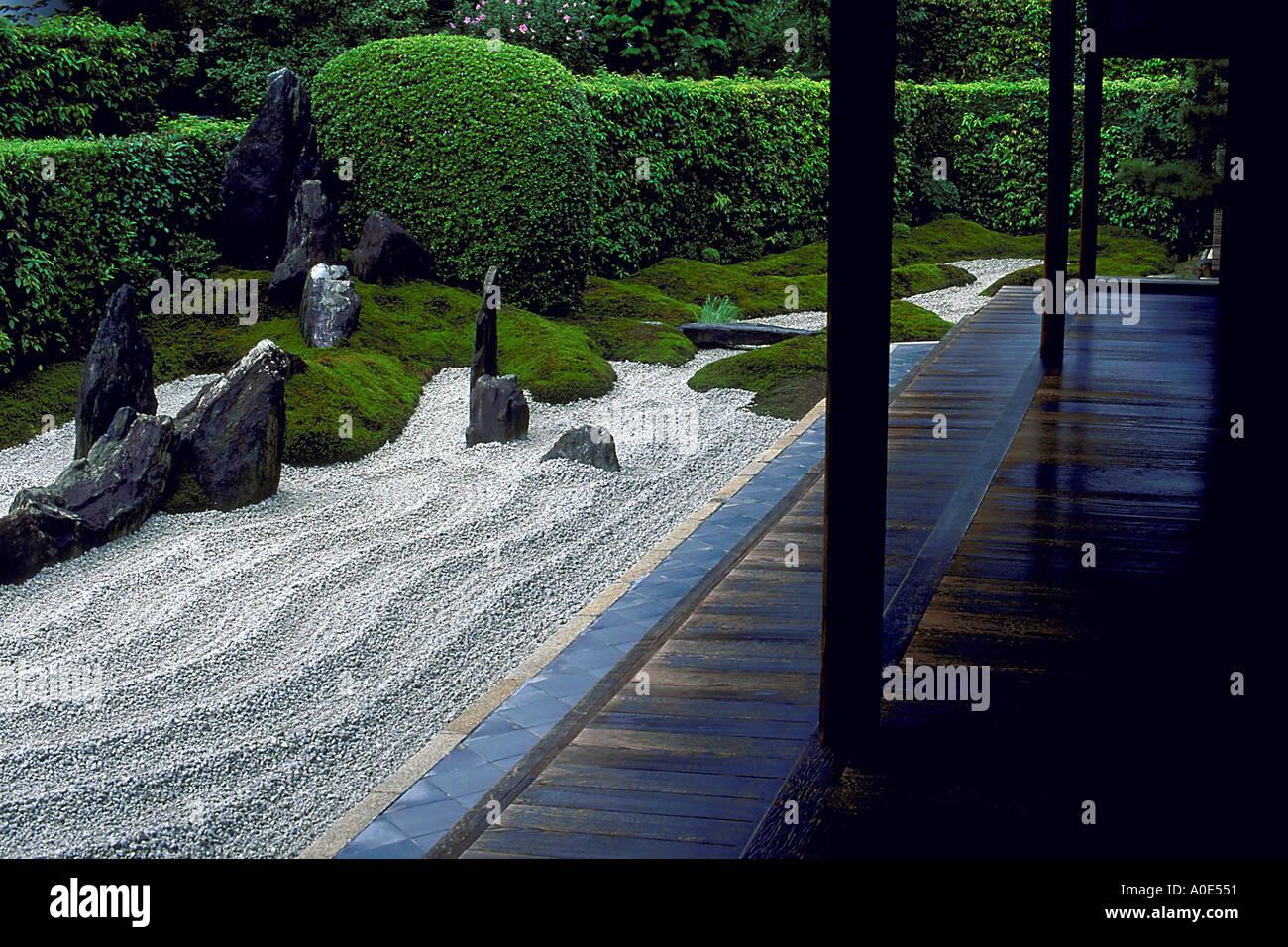Zuiho in rock garden in Kyoto Japan - Stock Image