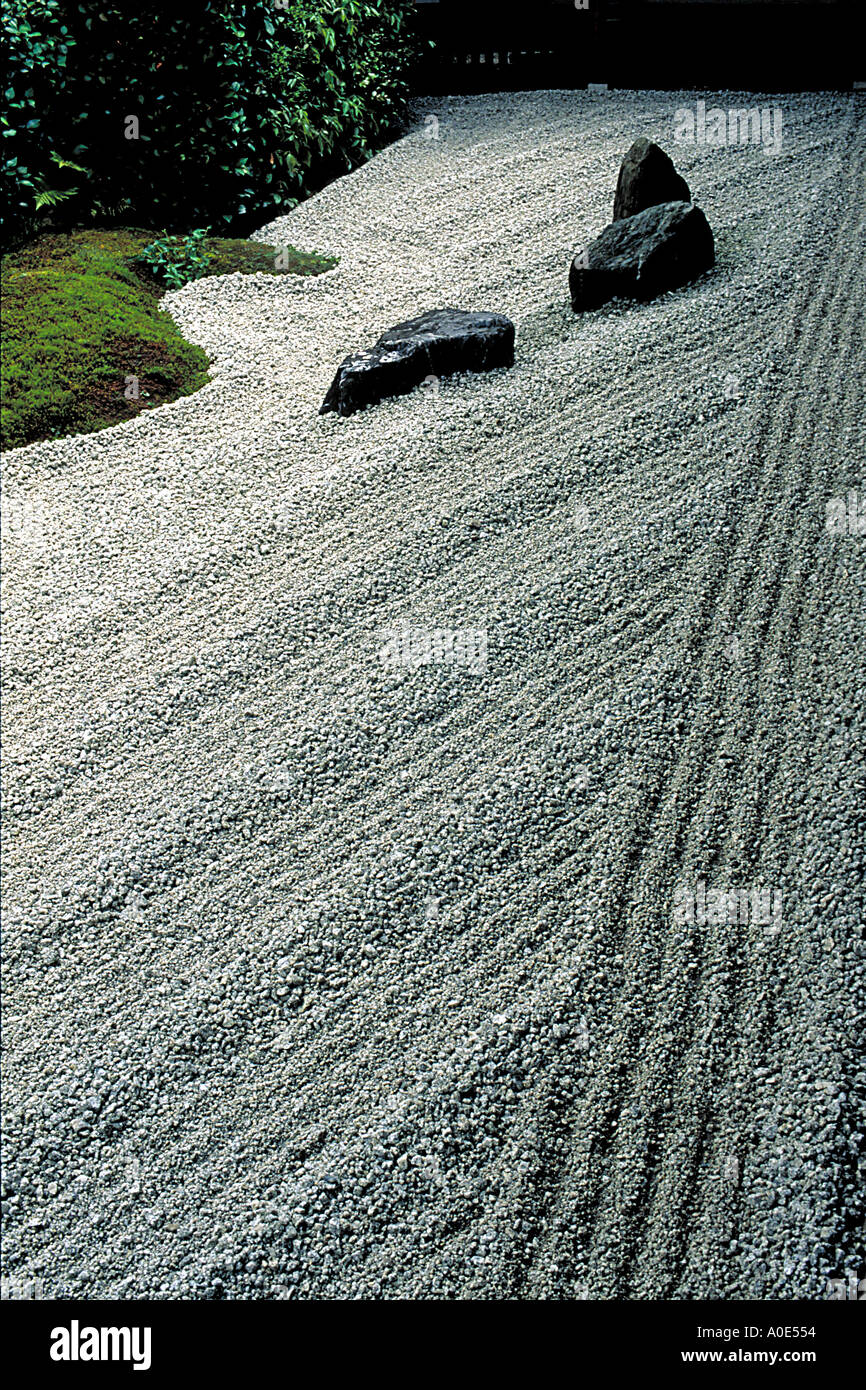 A traditional Japanese zen garden in Zuiho in Temple Kyoto Japan - Stock Image