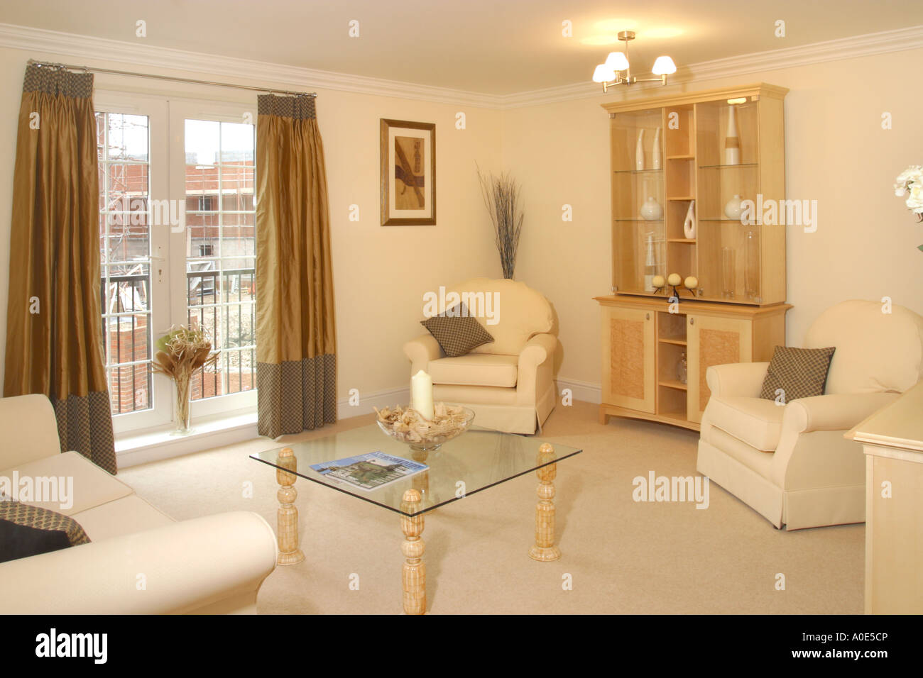 UK showhome interior, furnished living room. - Stock Image
