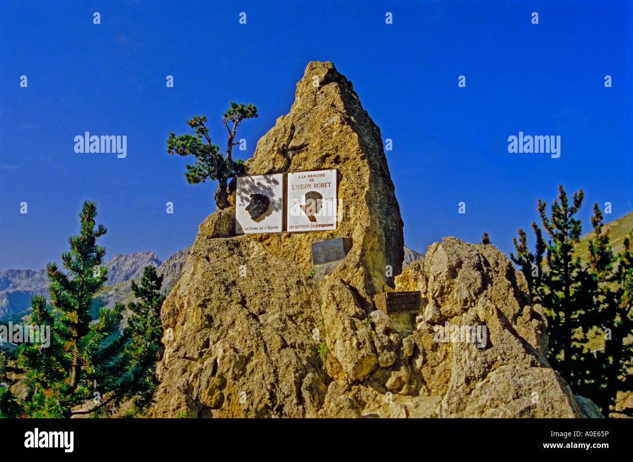 Memorials to Fausto Coppi and Louison Bobet on the col d Izoard Stock Photo