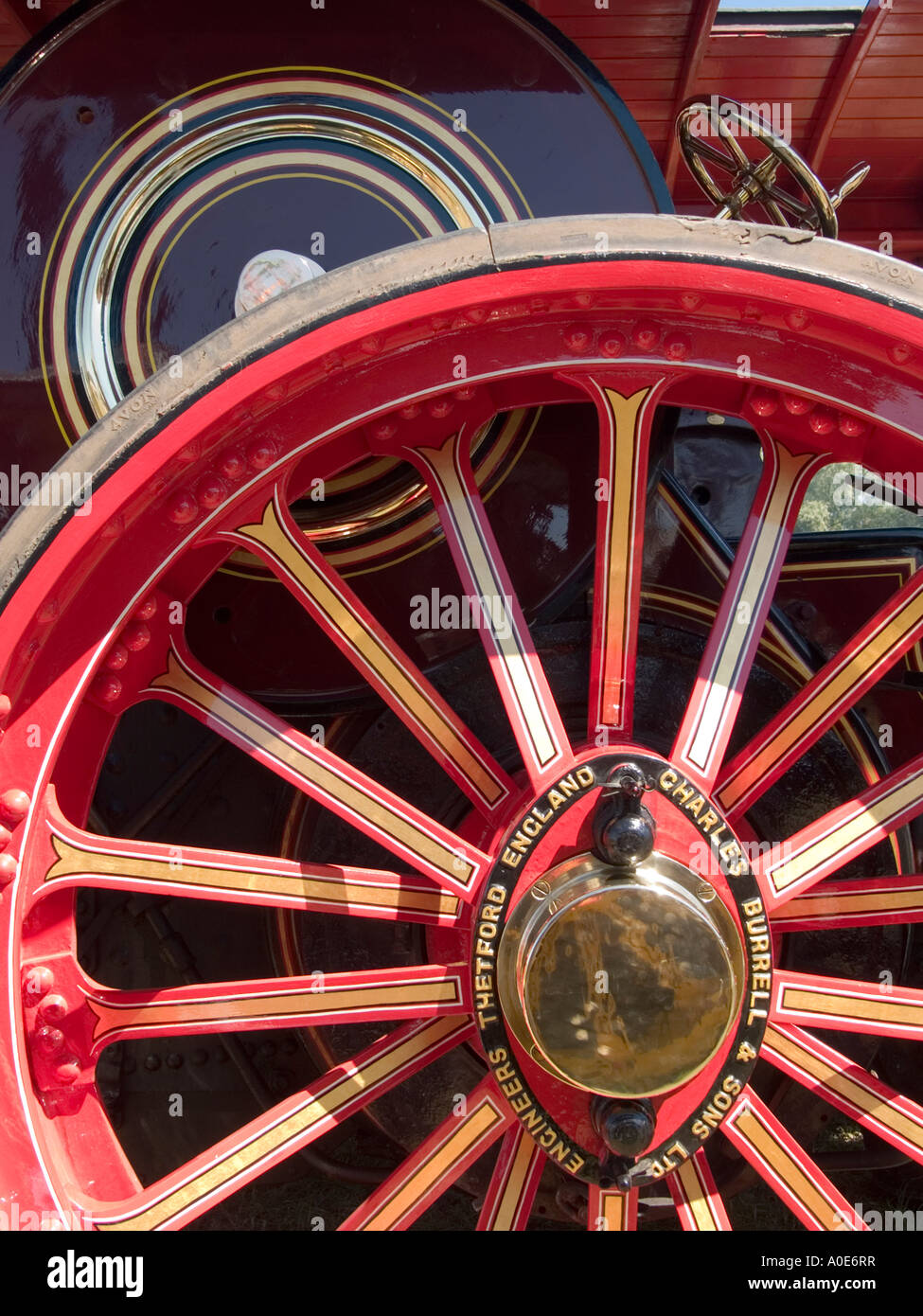 A restored traction engine wheel at Welland Steam Fair Worcestershire - Stock Image