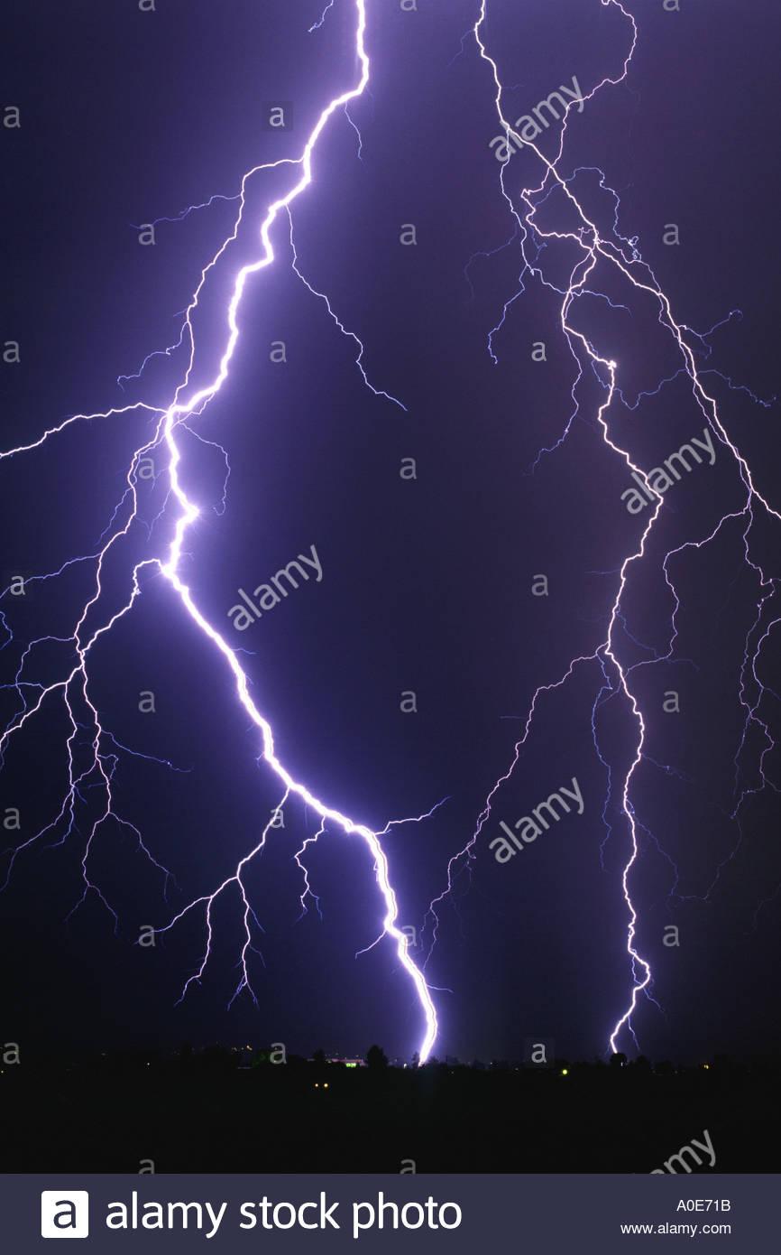 huge lightning bolt in a summer thunderstorm in tucson arizona usa