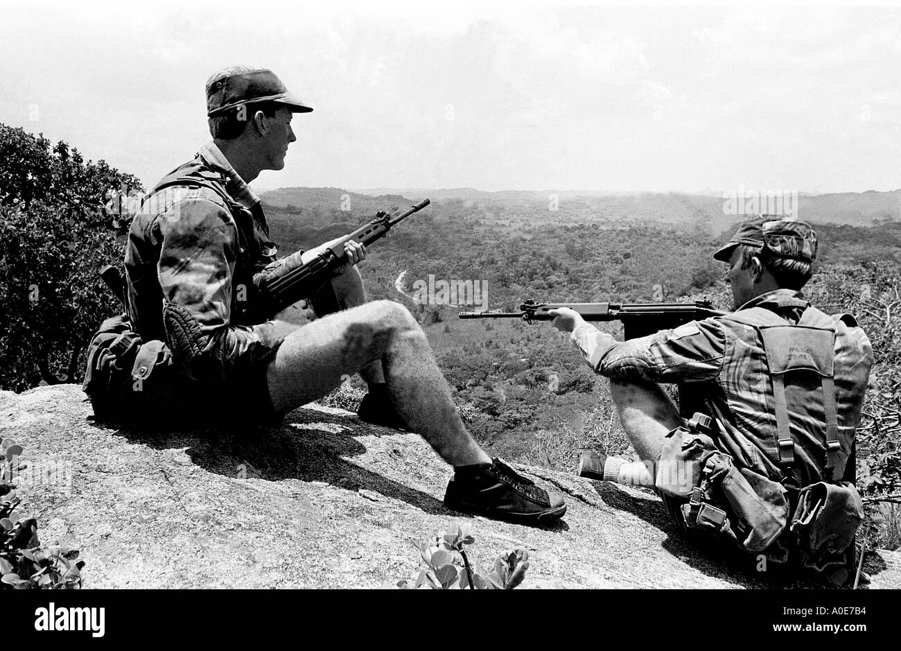 Rhodesian troops in the bush in 1975 during the UDI years of Ian Smiths Rhodesian Front. - Stock Image