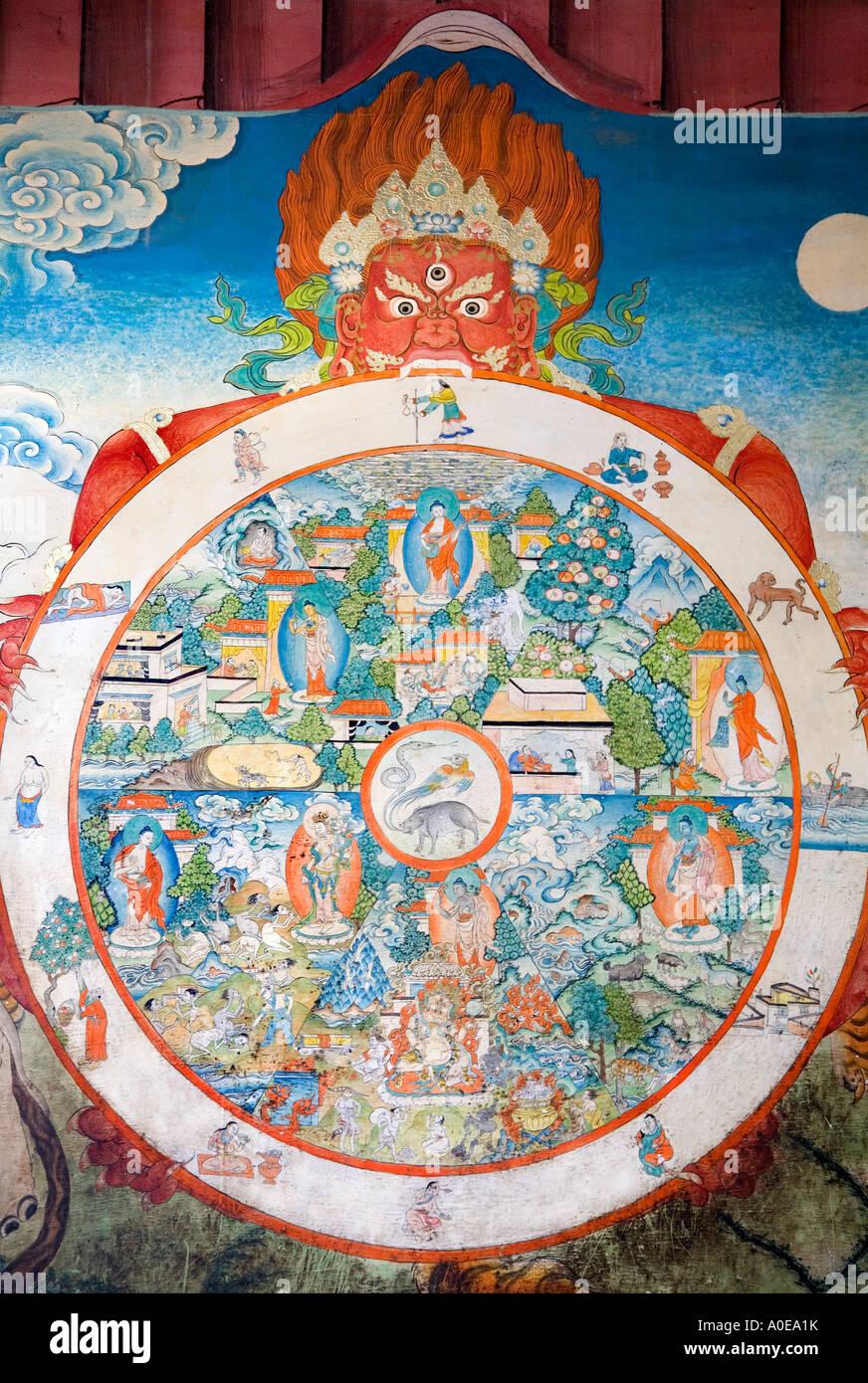 Damaged but fascinating mandala - Tashilunpo Monastery Shigatse Tibet - Stock Image