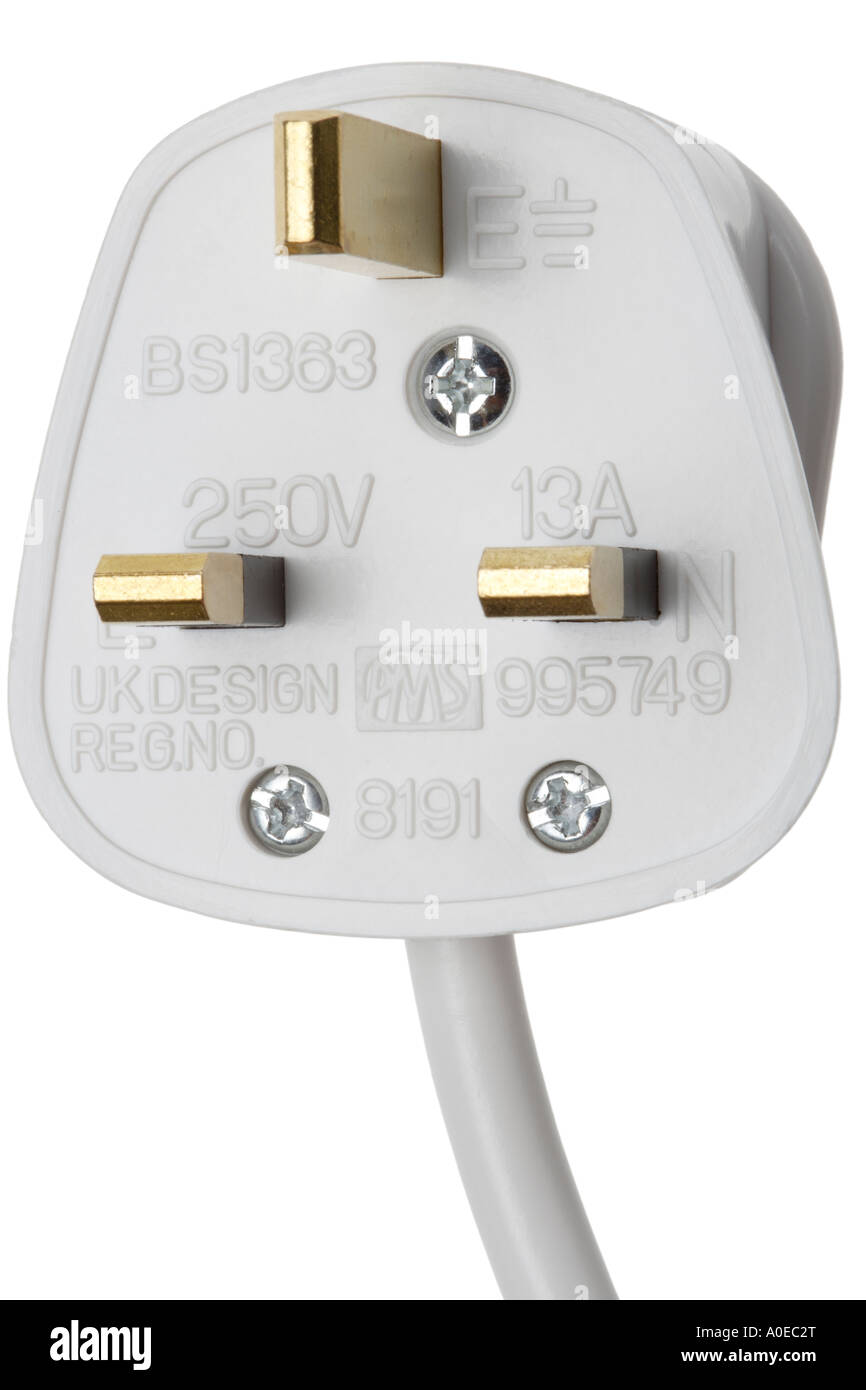British electrical plug 13 Amp Live Neutral and Earth Stock Photo ...
