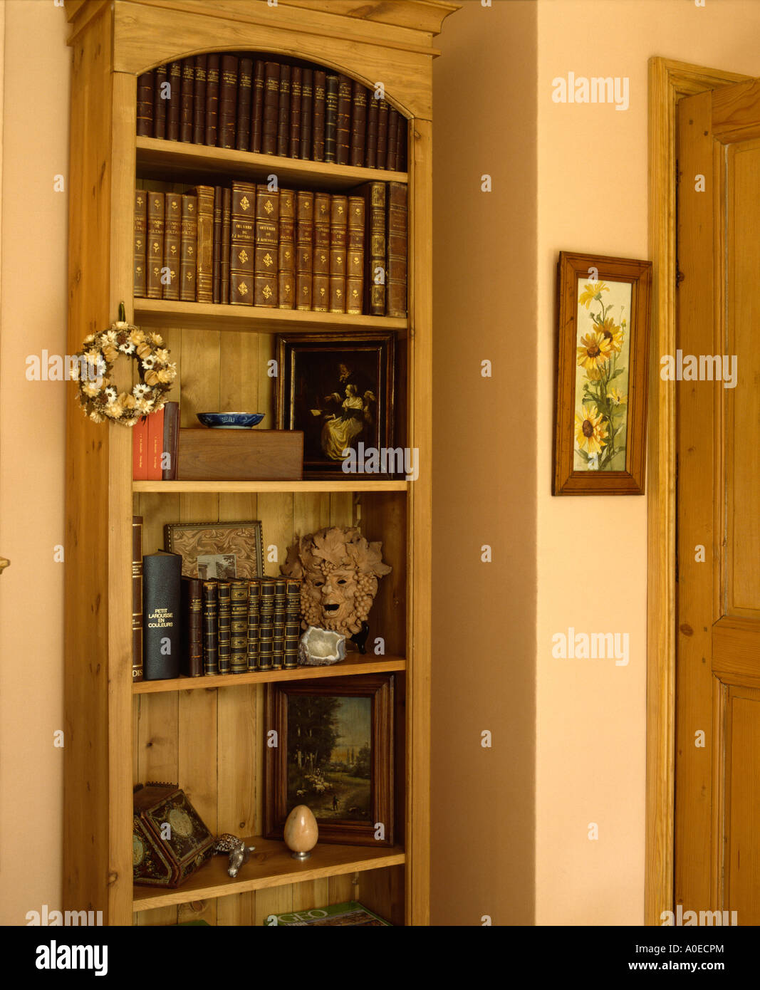 Books on recessed shelves - Stock Image