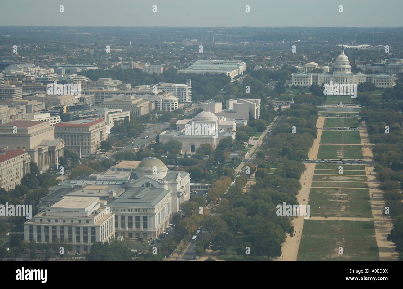 Aerial view of National Mall and US Capitol from Marine One JFK 8x10 Photo