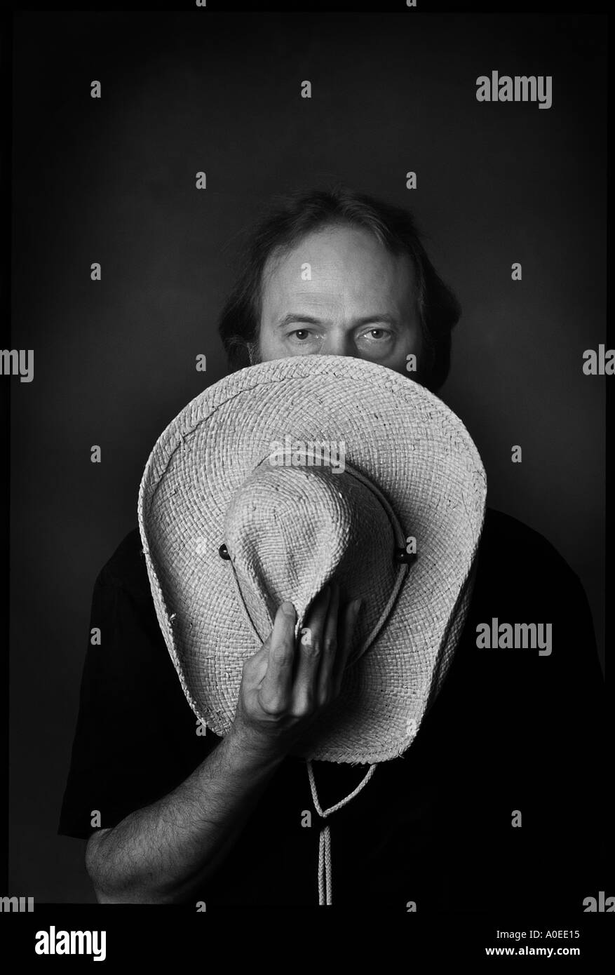 portrait of man with cowboy hat - Stock Image