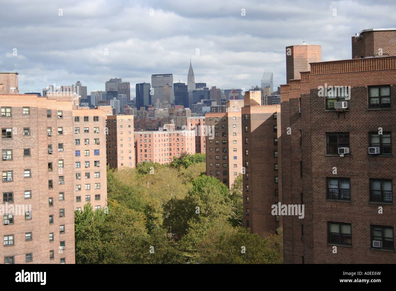 public housing in lower east side with midtown manhattan skyline