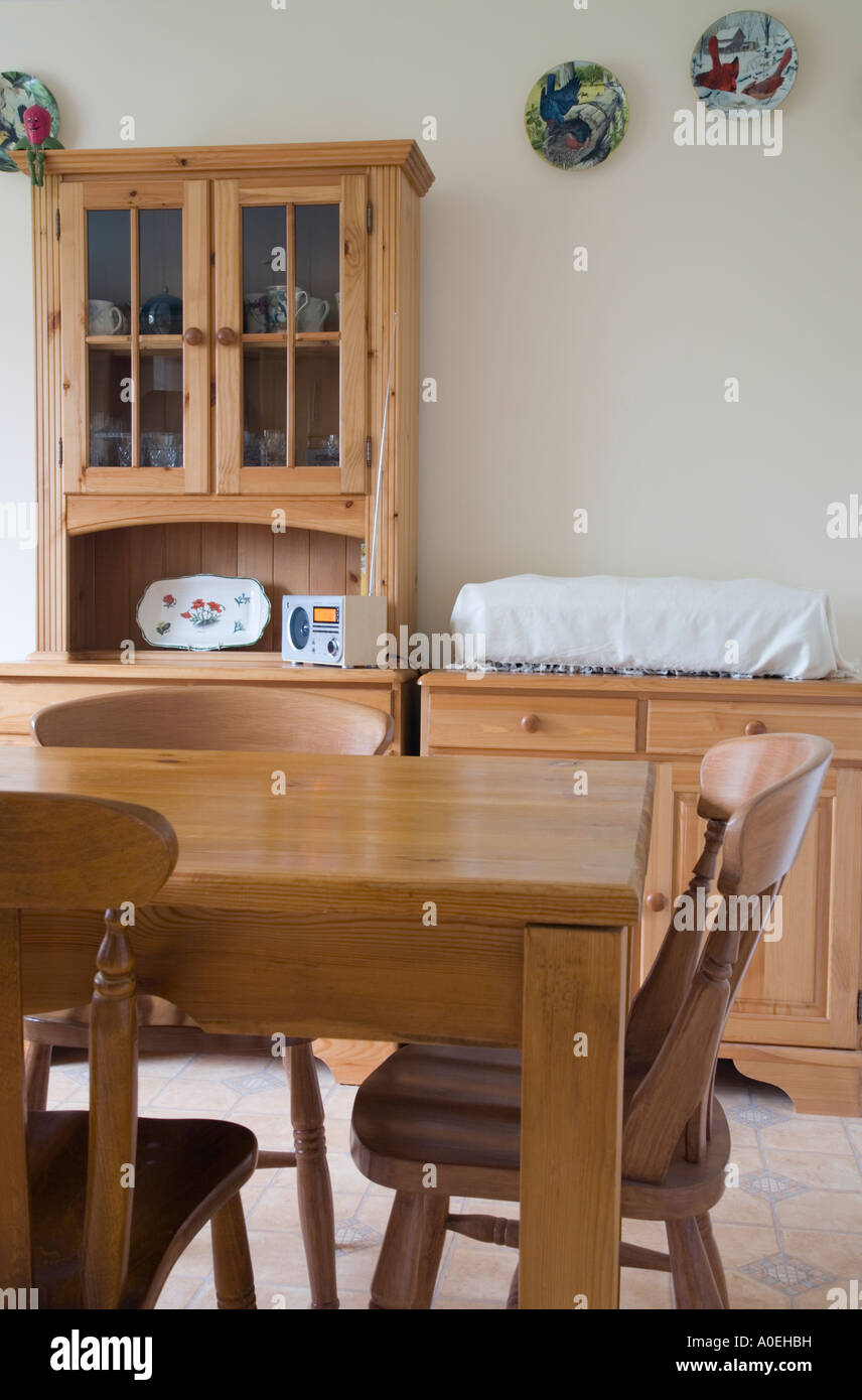 Picture of: Pine Wood Furniture Table Chairs Glass Fronted Cabinet In Modern Stock Photo Alamy